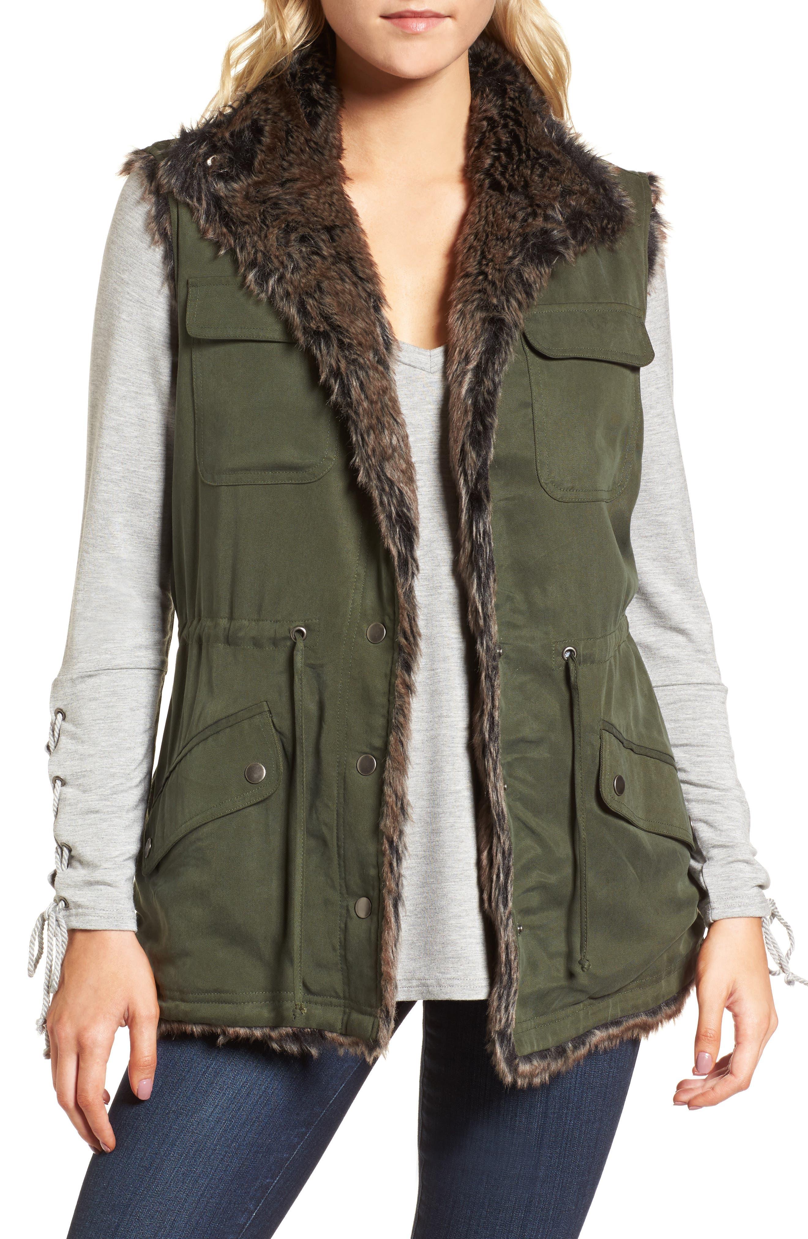 Ashling Faux Fur Lined Utility Vest,                             Main thumbnail 1, color,                             Army