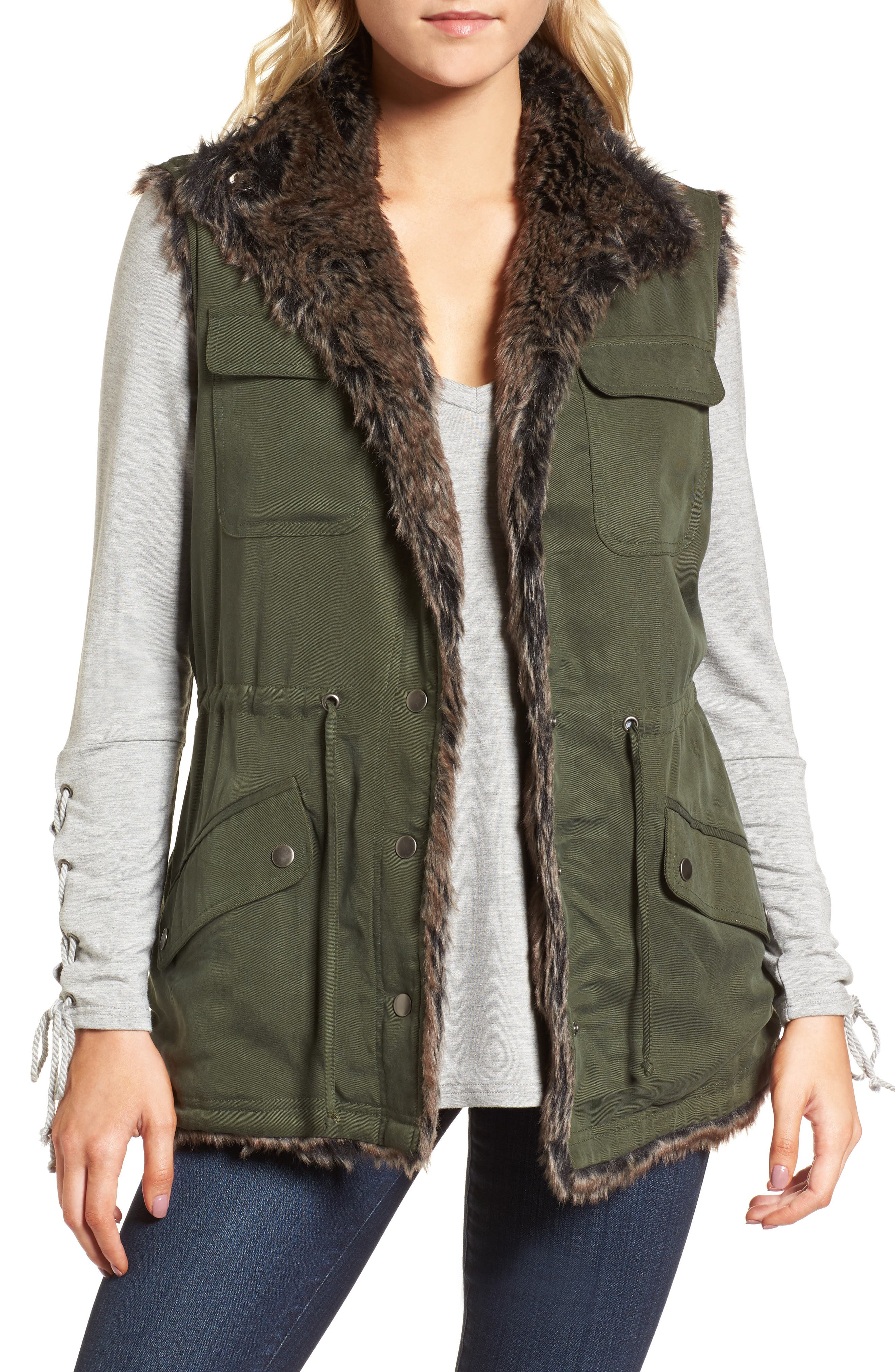 cupcakes and cashmere Ashling Faux Fur Lined Utility Vest