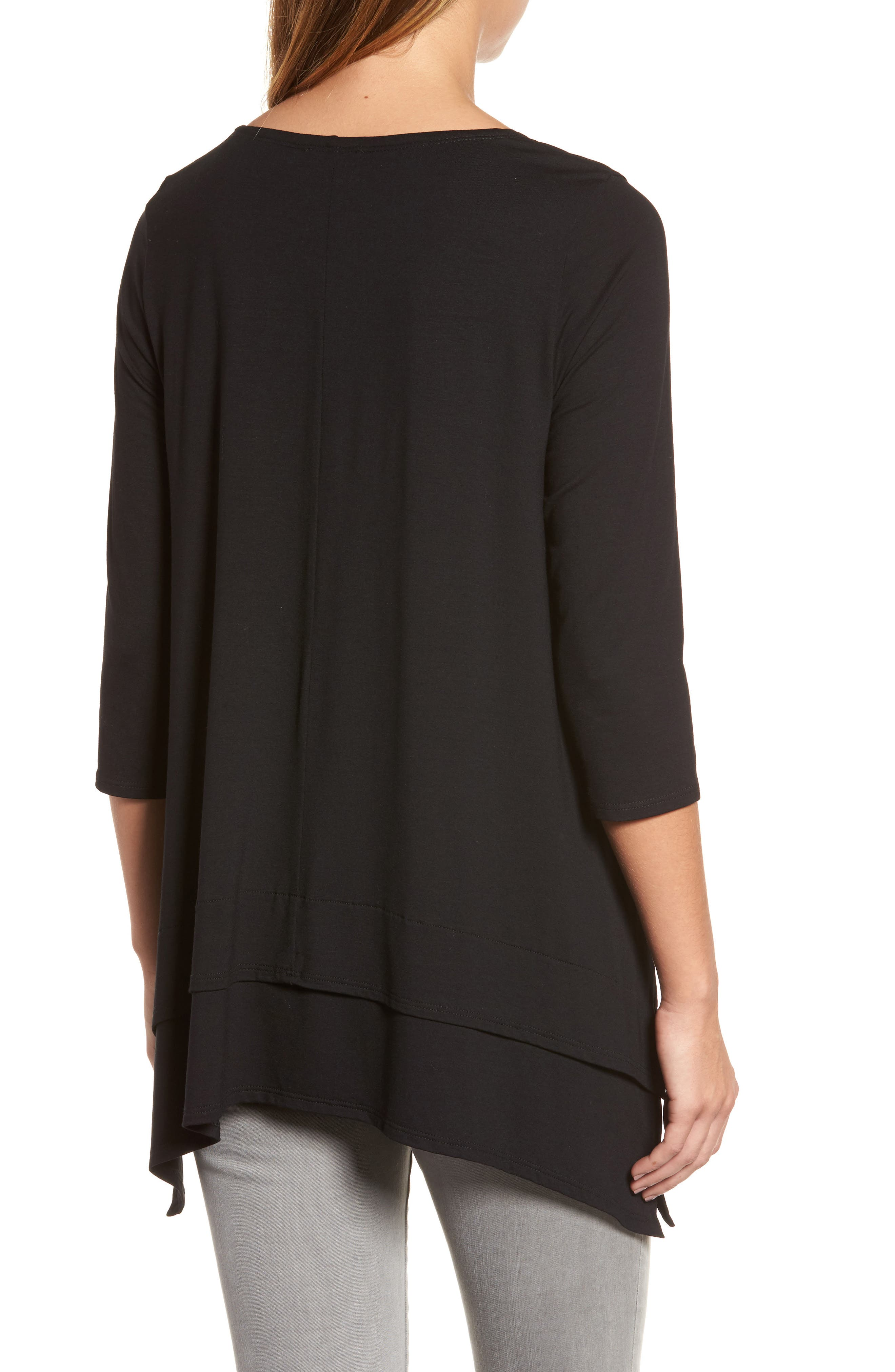 Tiered Handkerchief Hem Tunic,                             Alternate thumbnail 2, color,                             Black