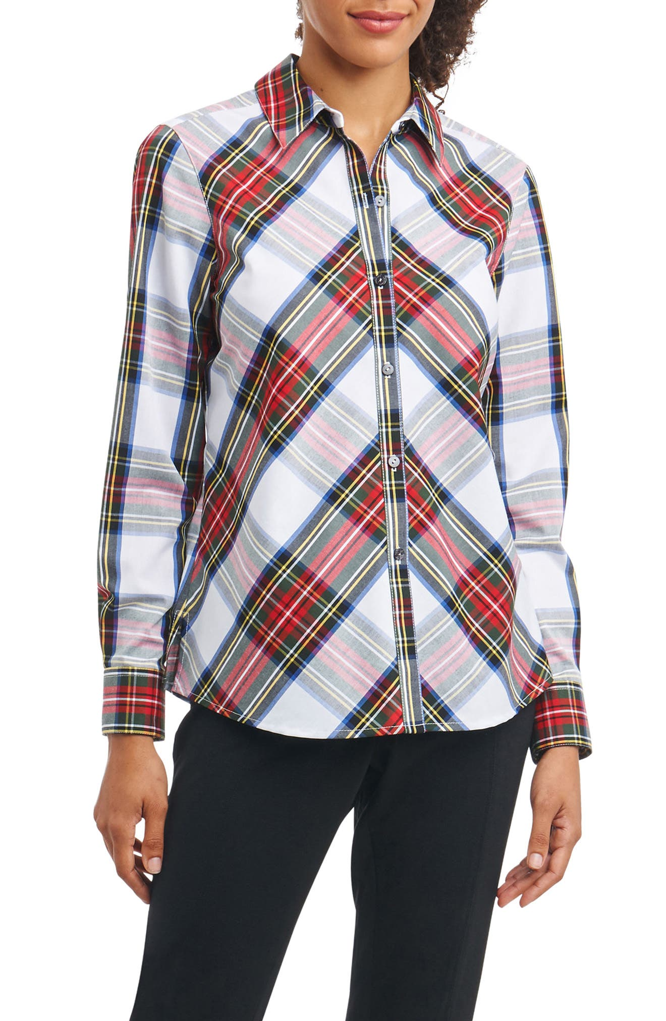Tina in Stewart Tartan Shirt,                             Main thumbnail 1, color,                             White Multi