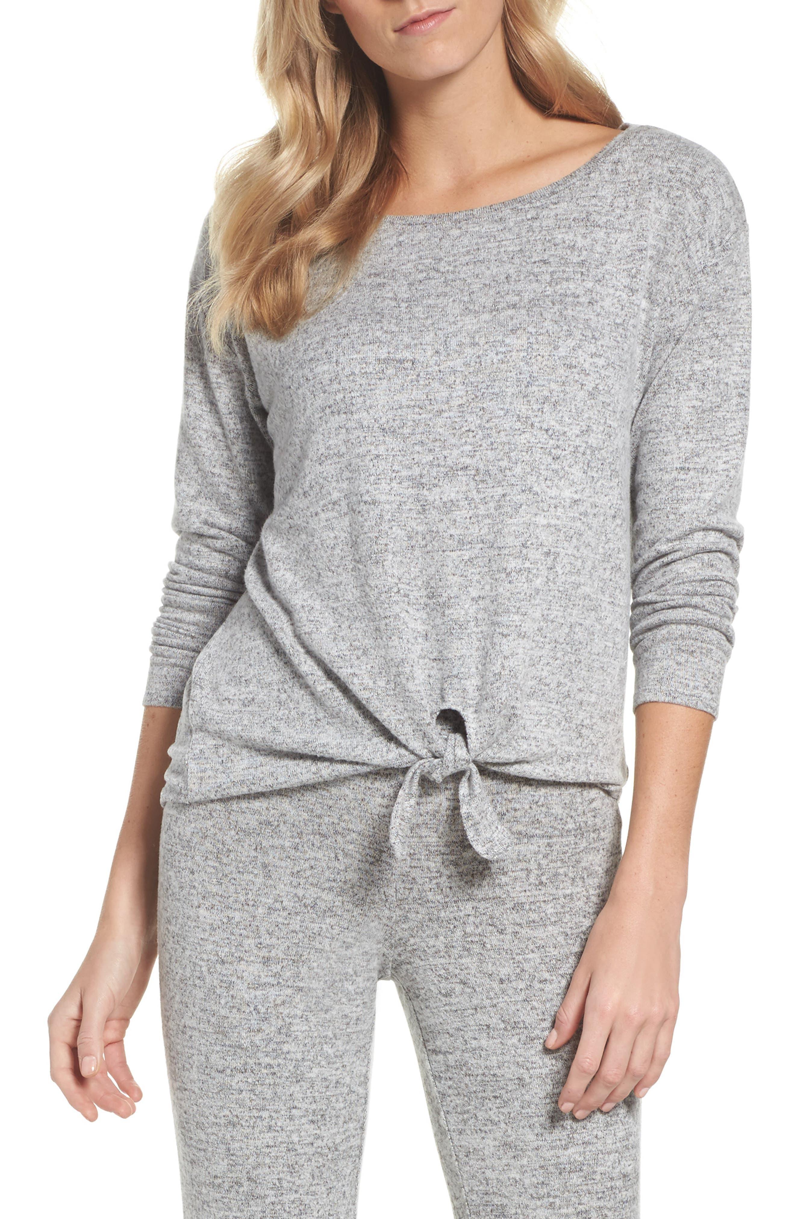 Tie Front Top,                         Main,                         color, H Grey