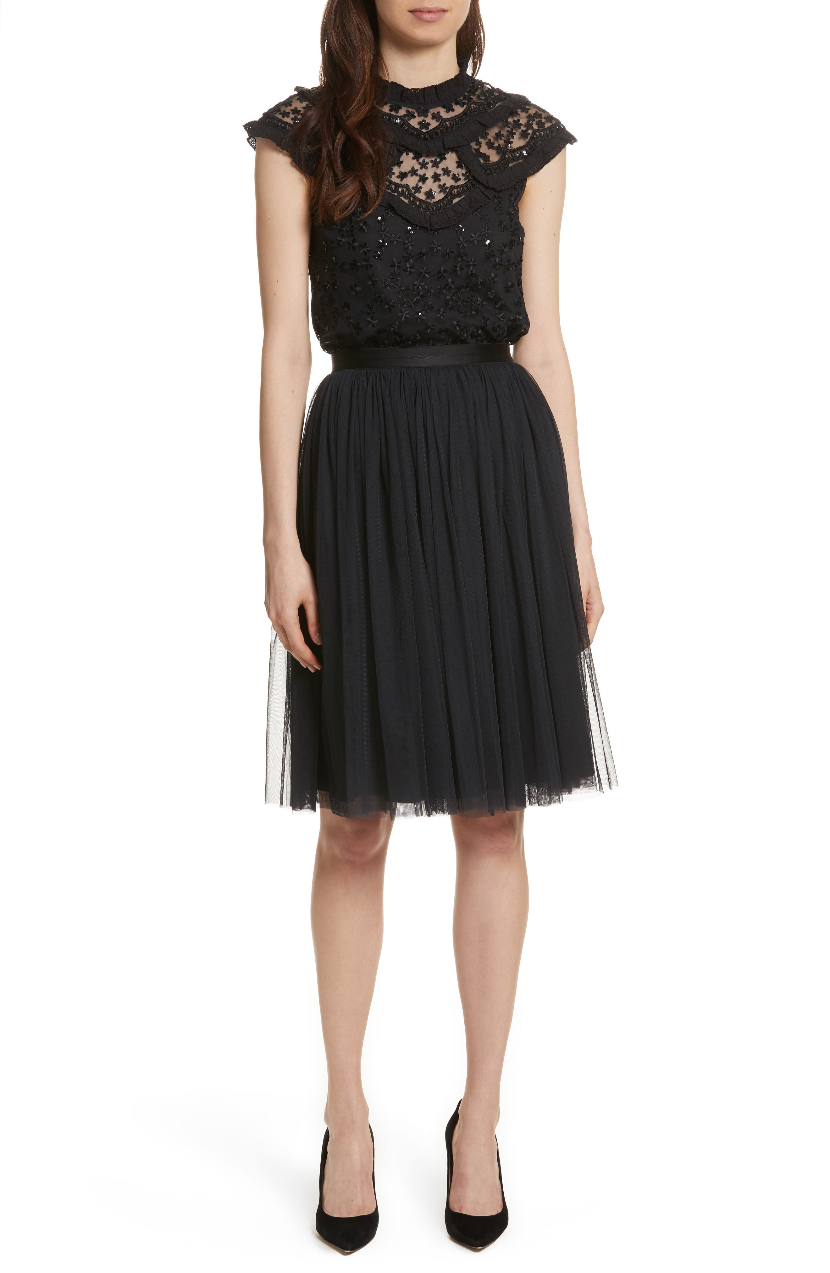 Pleated Tulle Skirt,                             Alternate thumbnail 7, color,                             Washed Black