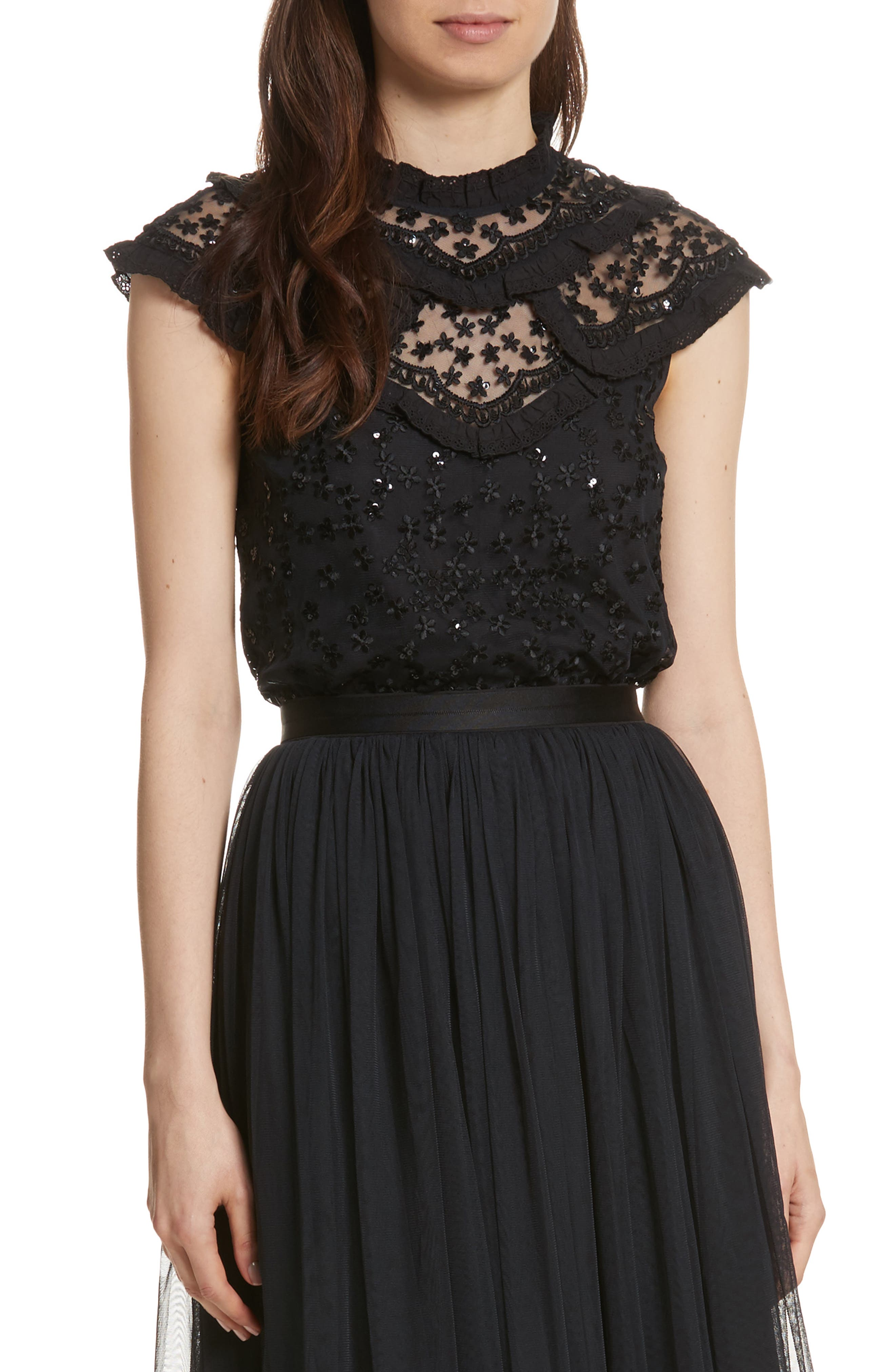 Daisy Sequin Embroidered Top,                             Main thumbnail 1, color,                             Washed Black