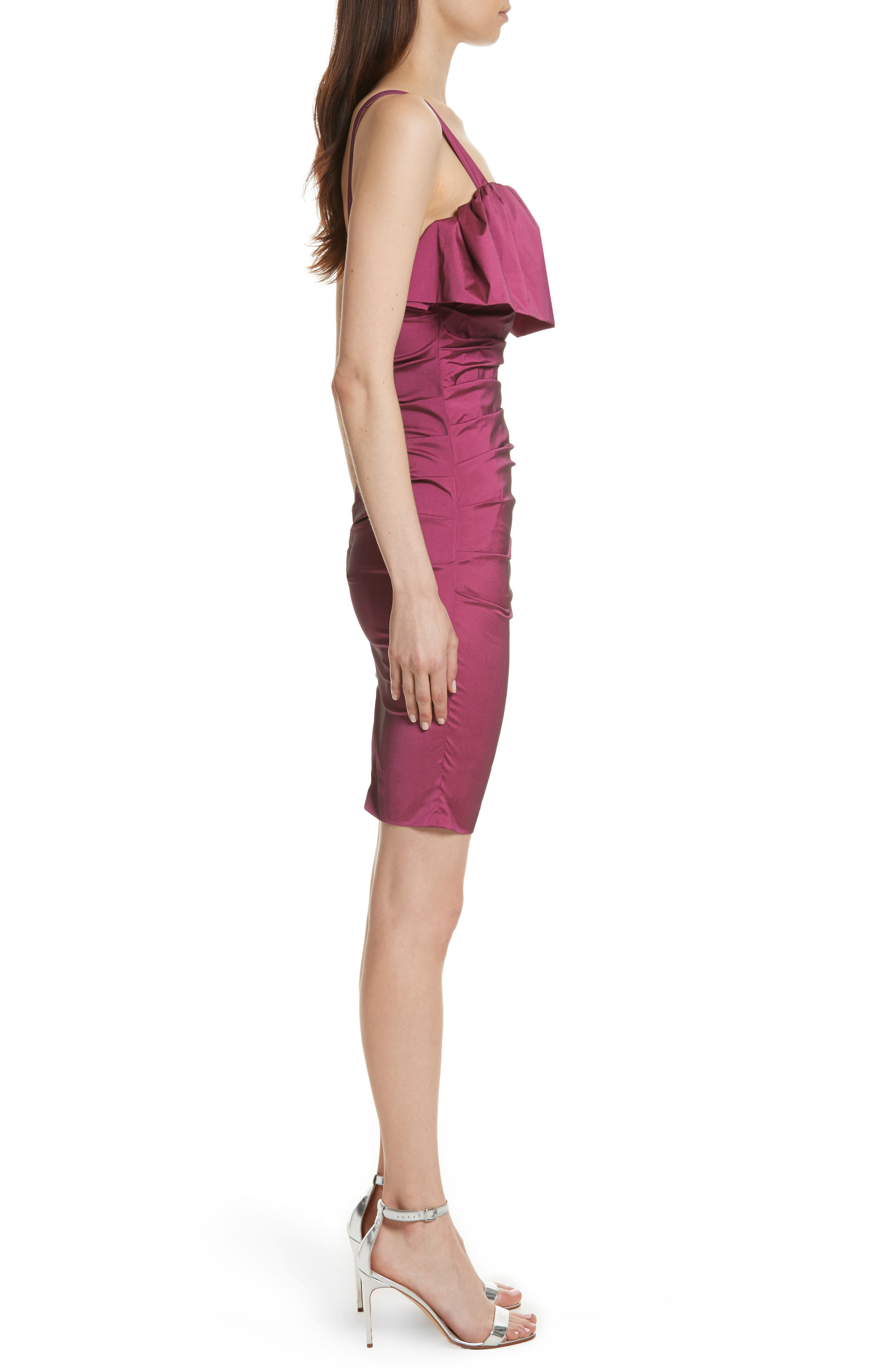 Frilled Column Dress,                             Alternate thumbnail 3, color,                             Vixen