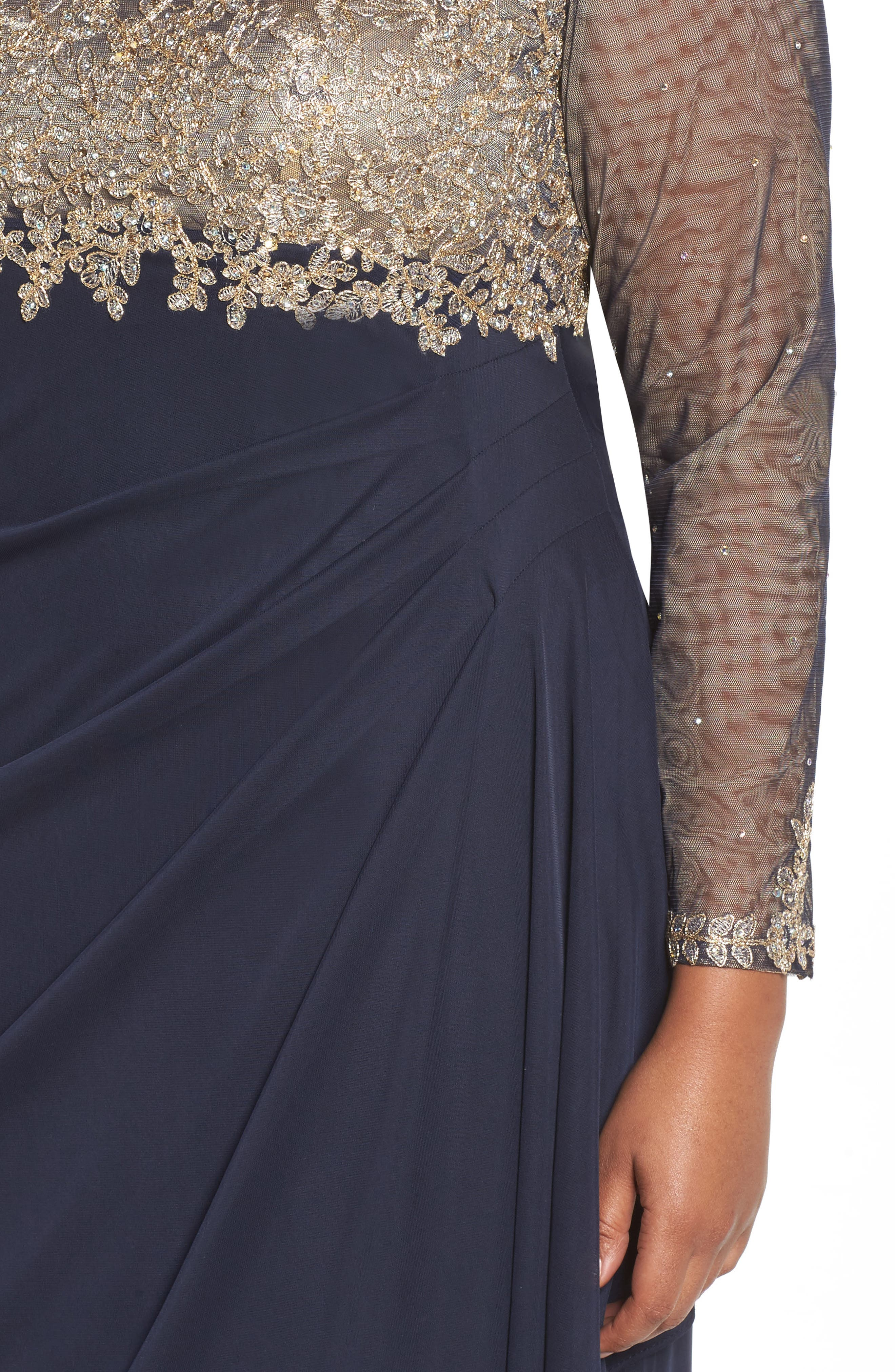 Embellished Mesh & Jersey Gown,                             Alternate thumbnail 4, color,                             Navy/ Gold