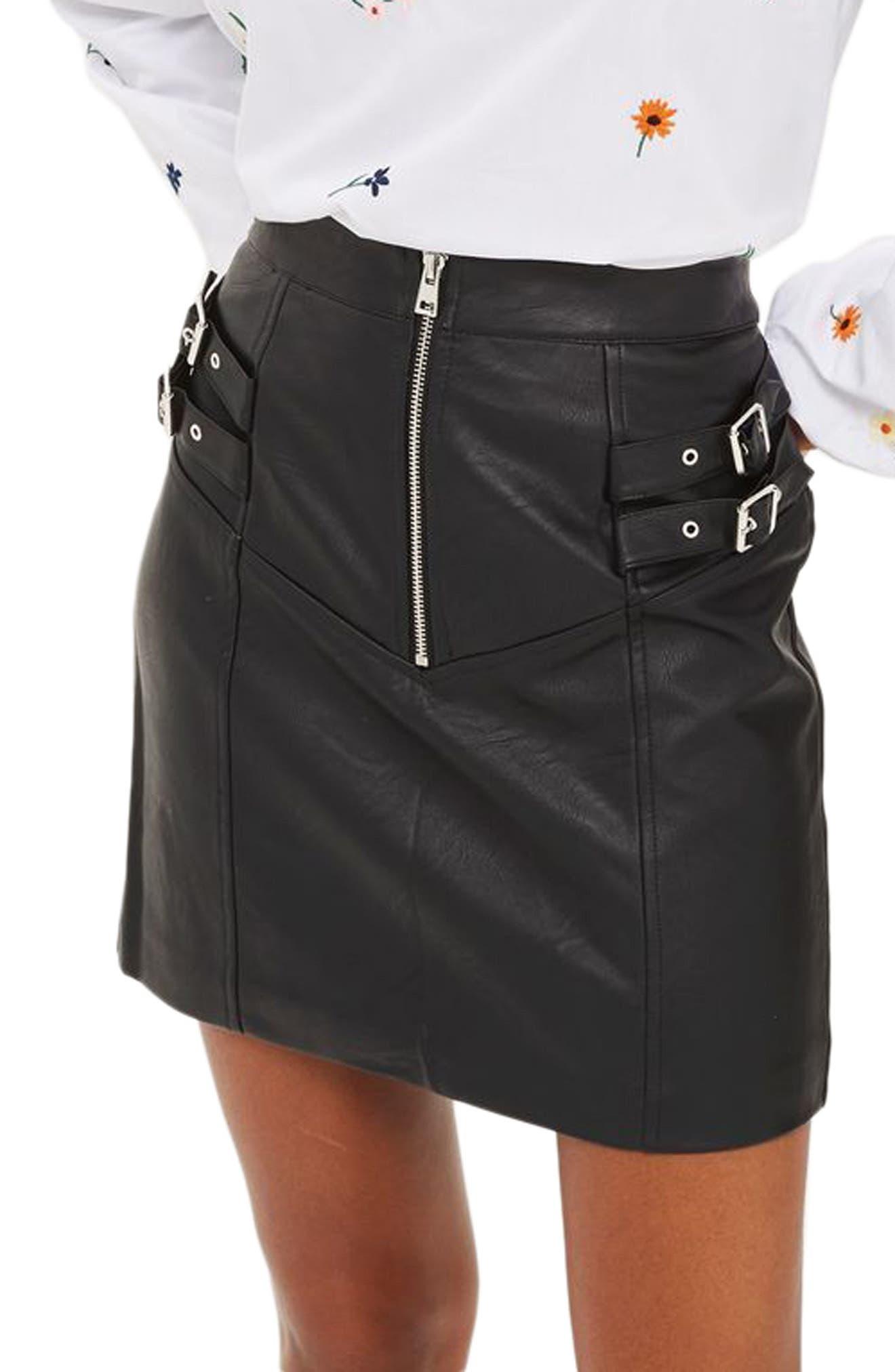 Double Buckle Faux Leather Miniskirt,                         Main,                         color, Black