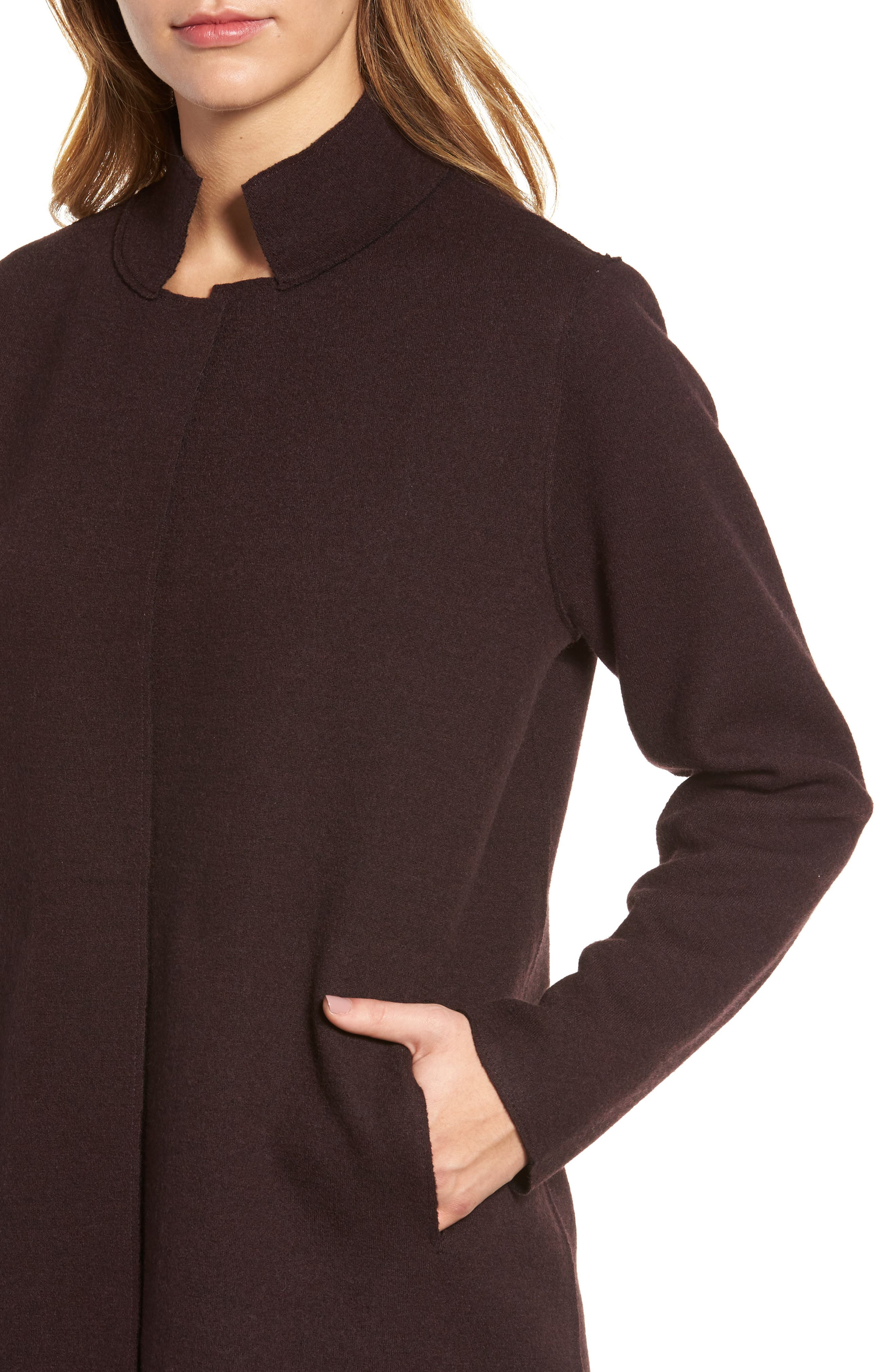 Notch Collar Merino Wool Topper,                             Alternate thumbnail 4, color,                             Clove