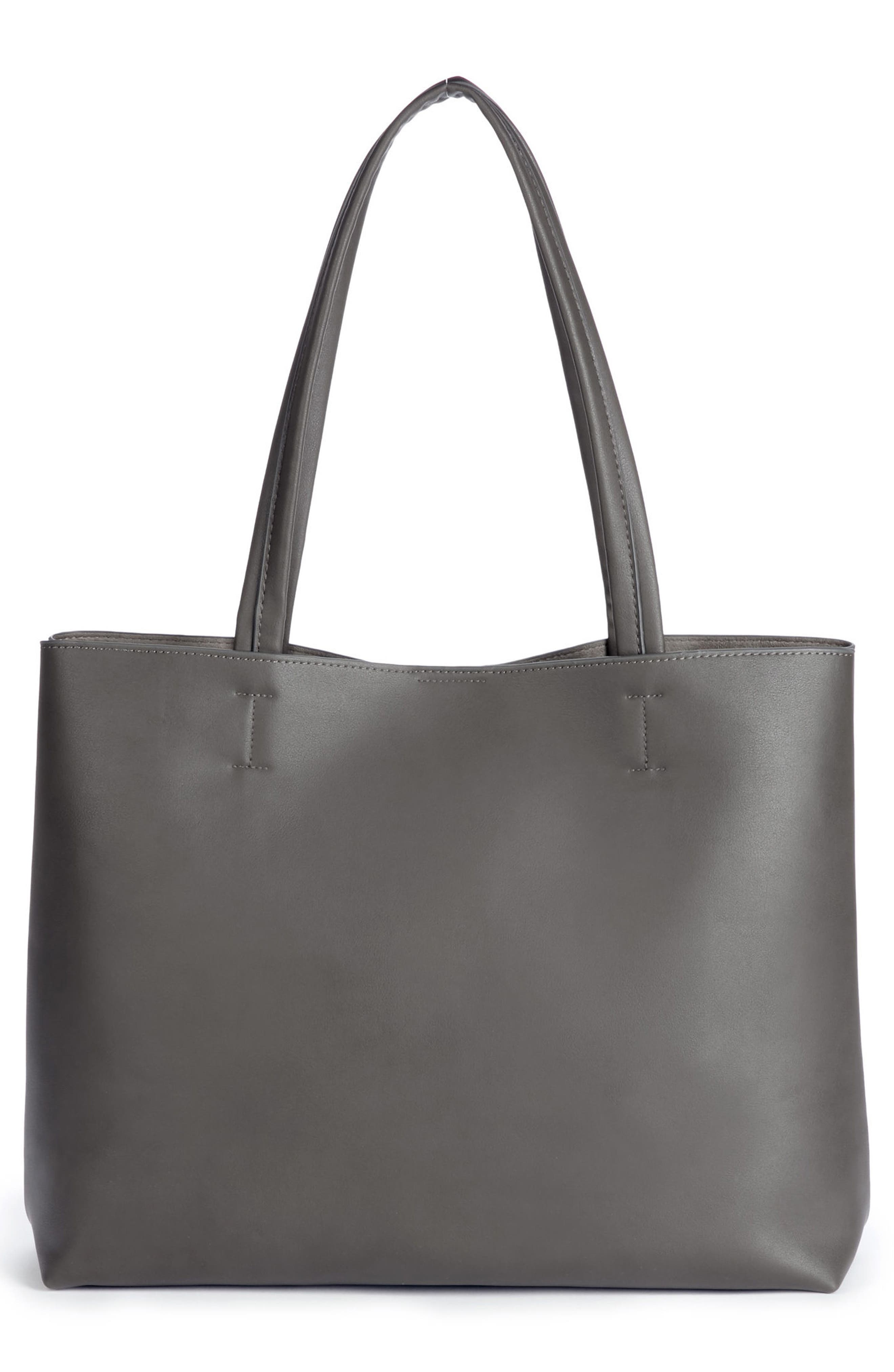 Oversize Faux Leather Tote,                             Alternate thumbnail 3, color,                             Grey