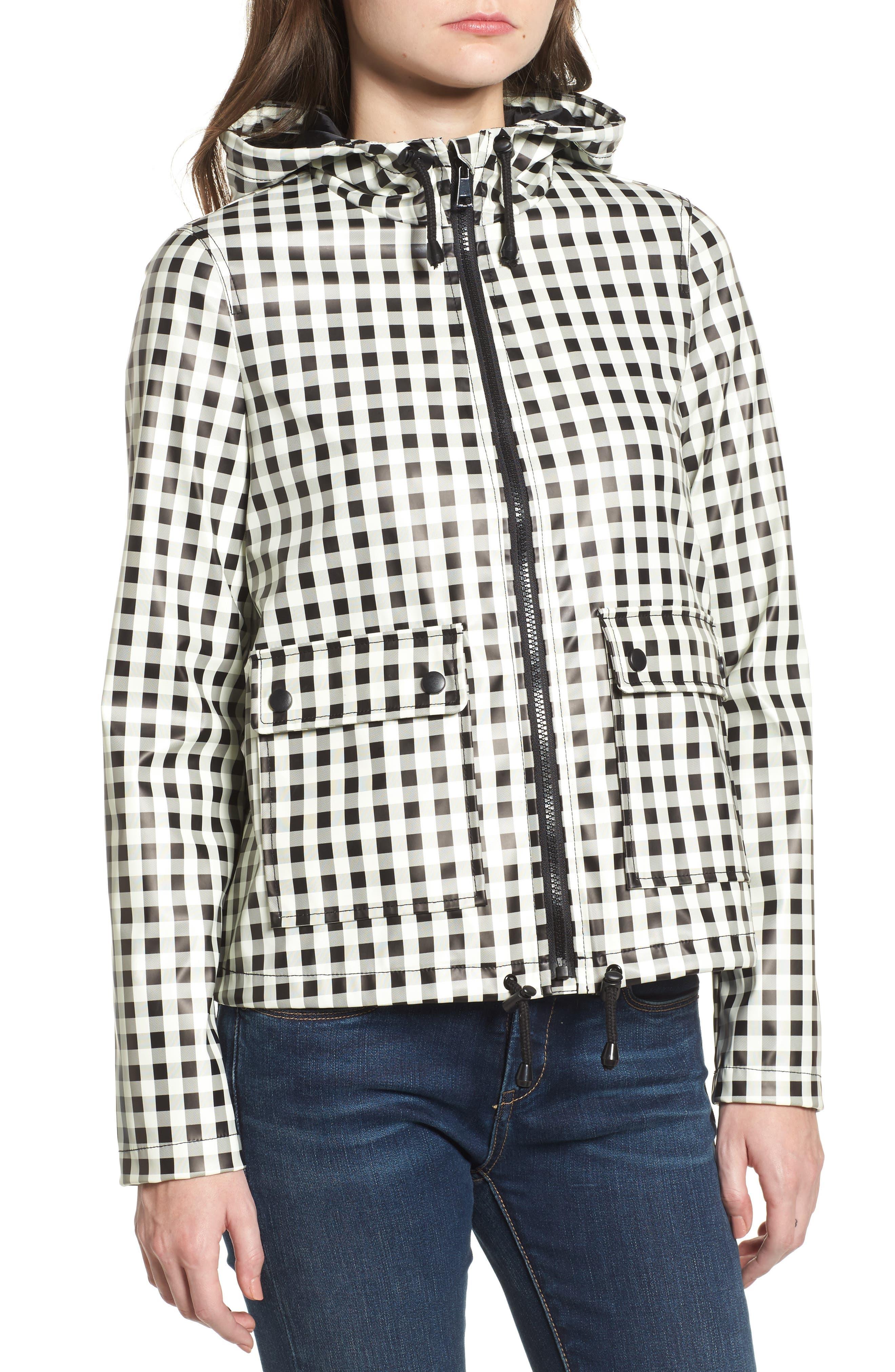 Gingham Hooded Rain Jacket,                             Alternate thumbnail 2, color,                             Black/ White