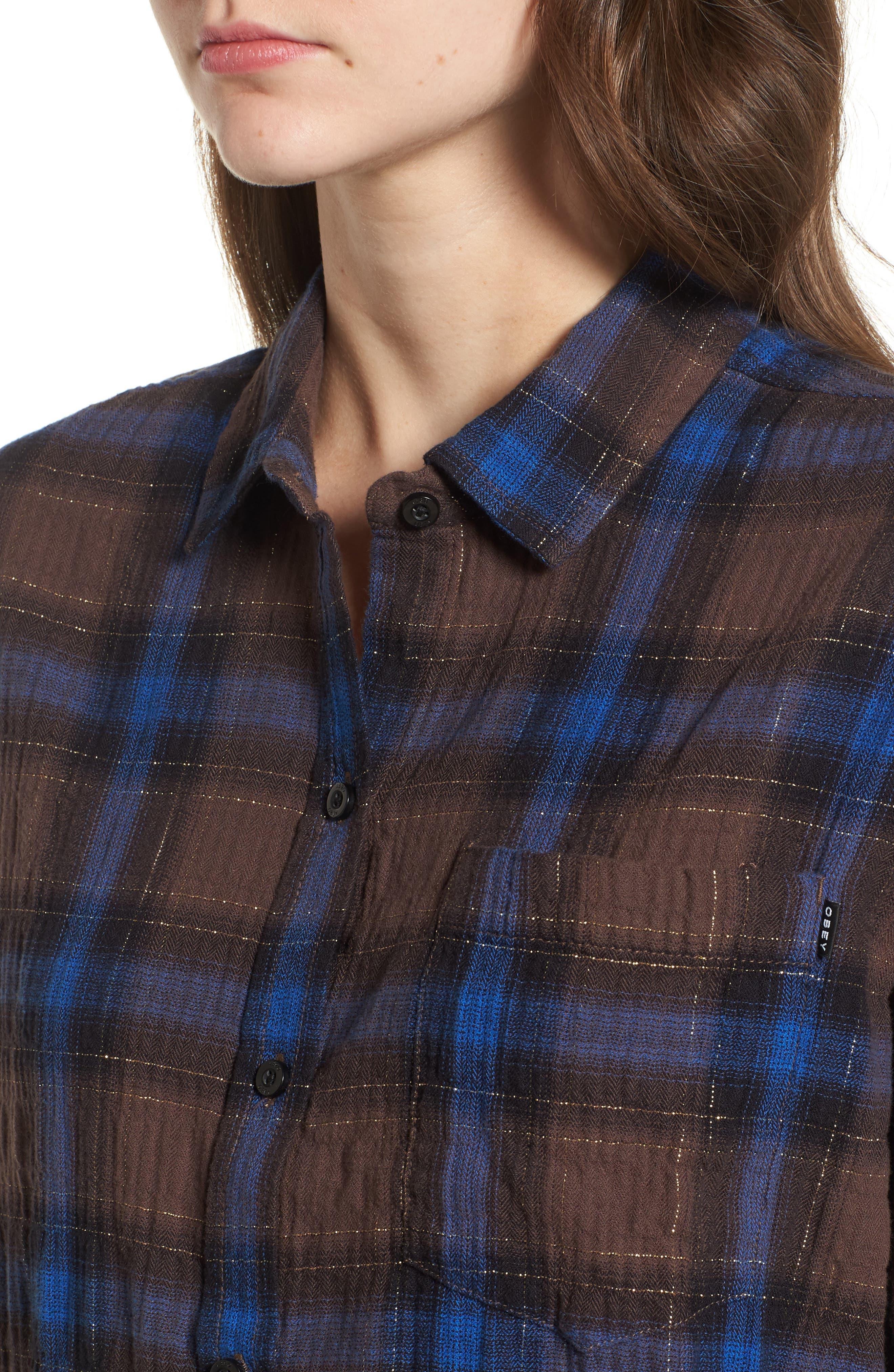 Eldorado Plaid Shirt,                             Alternate thumbnail 4, color,                             Brown Multi