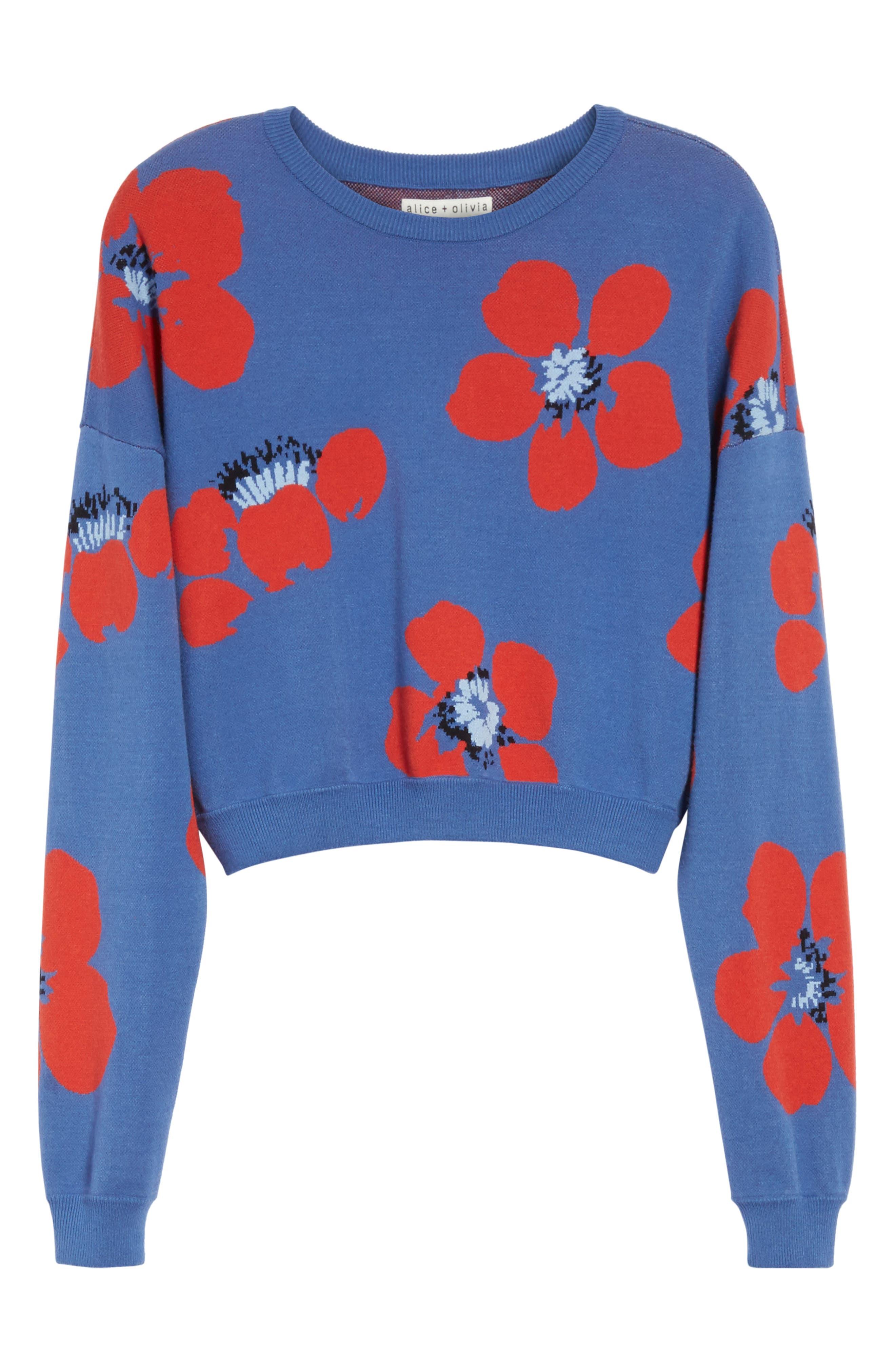 Leena Floral Crop Sweatshirt,                             Alternate thumbnail 6, color,                             Blue Quartz Multi