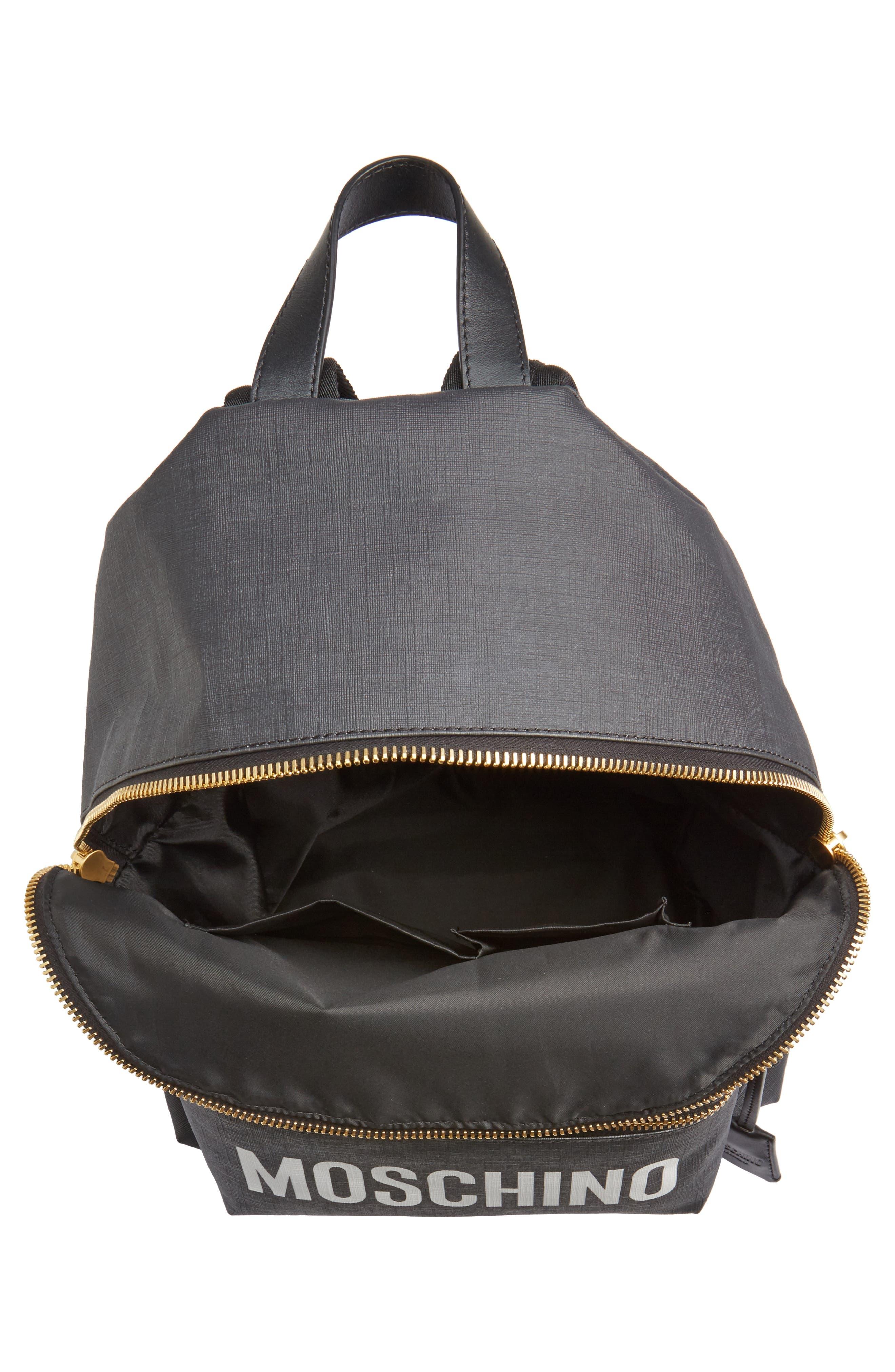 x Playboy Large Bunny Bear Woven Backpack,                             Alternate thumbnail 5, color,                             Black