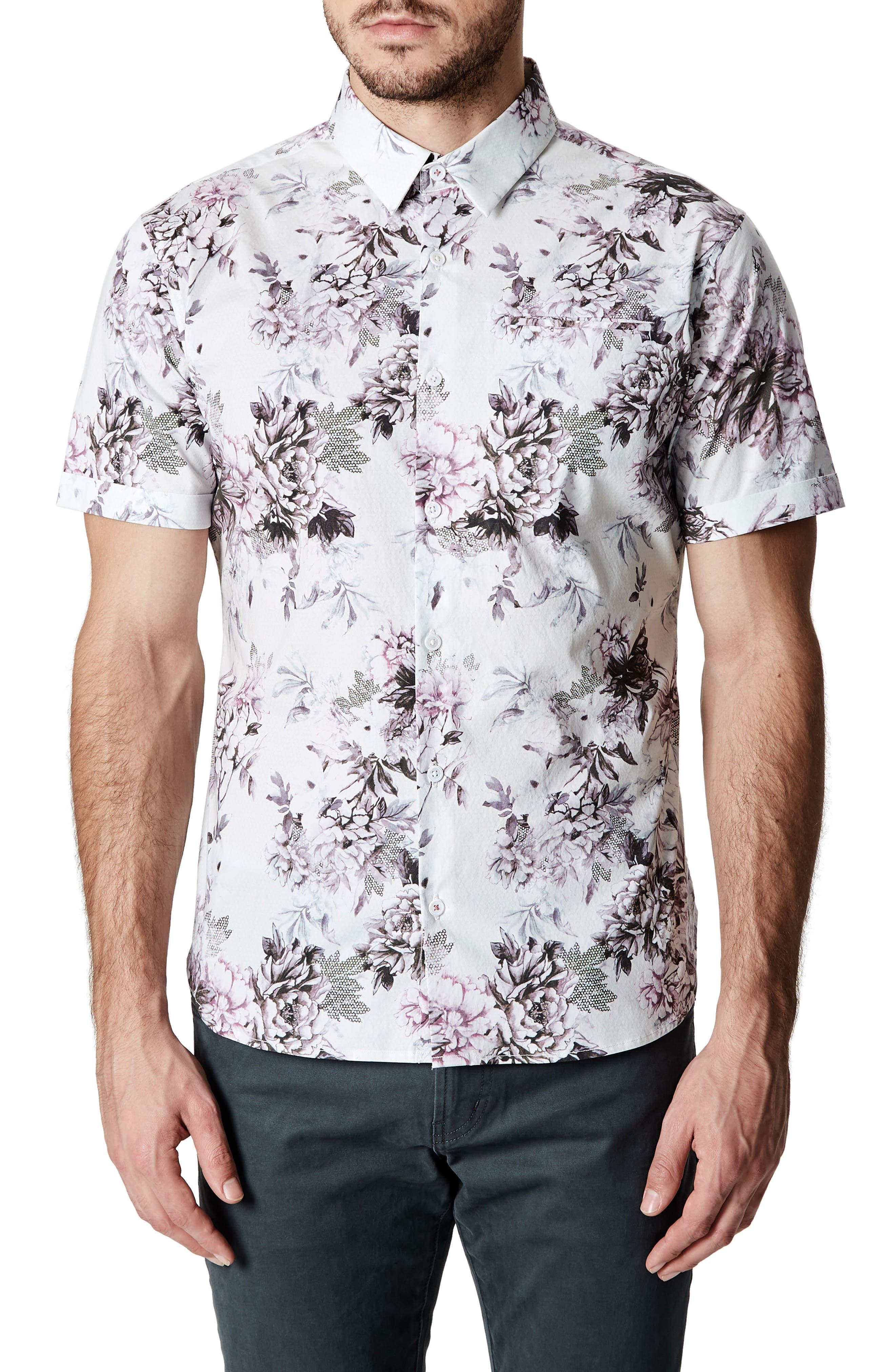 Aura Floral Sport Shirt,                         Main,                         color, Rose