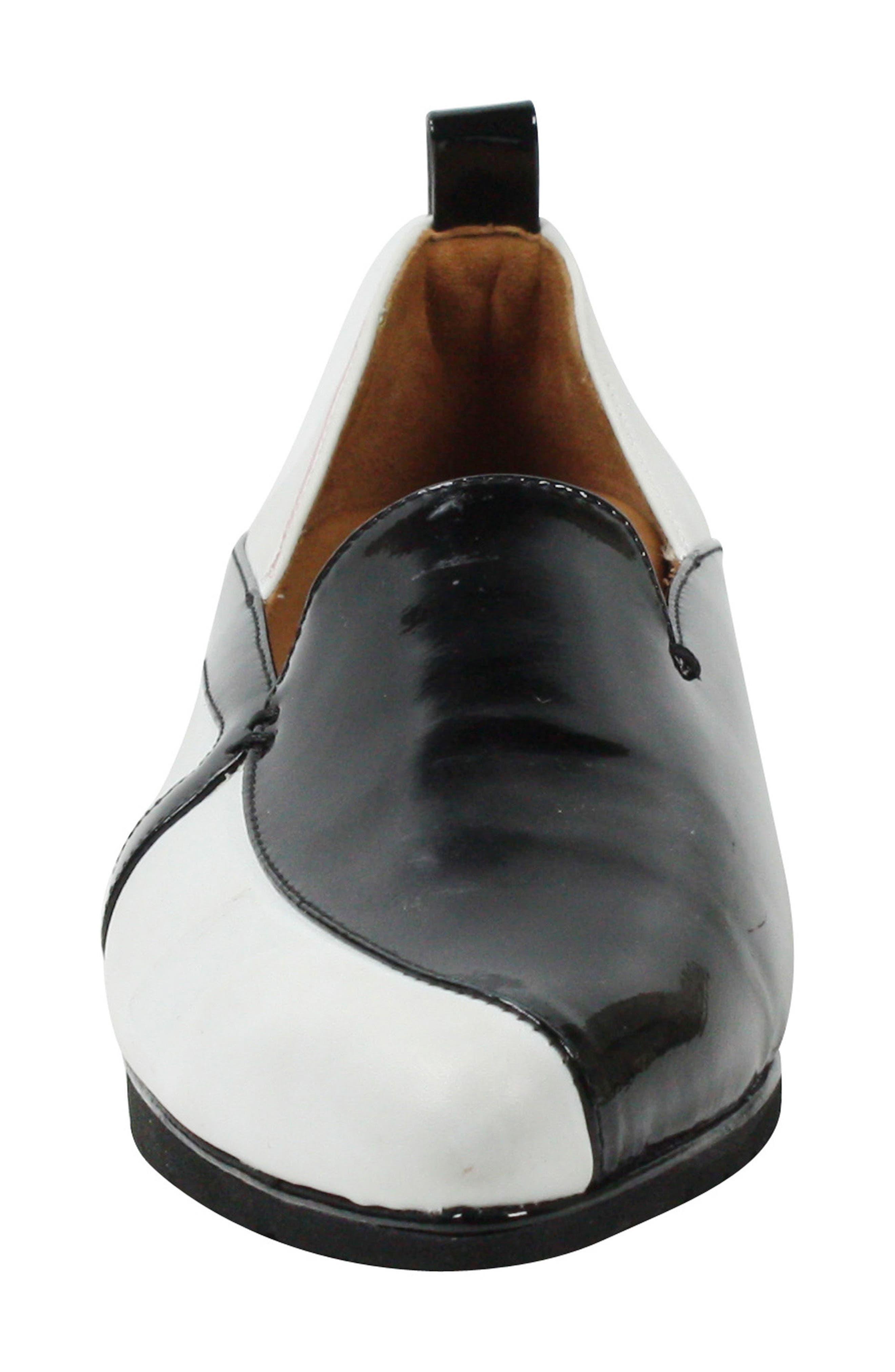 Marjolaina Loafer,                             Alternate thumbnail 5, color,                             Black/ White Patent Leather