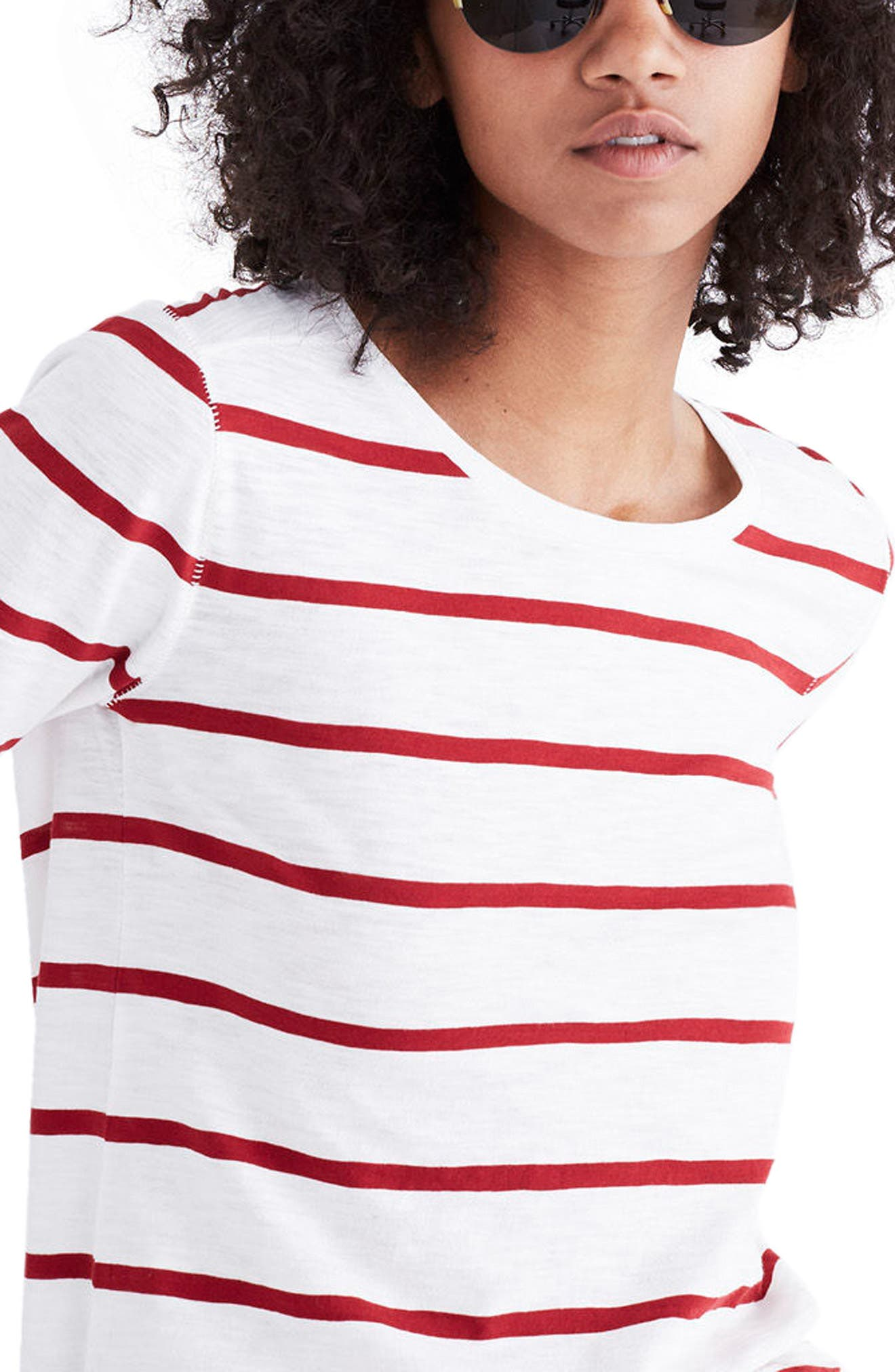 Whisper Cotton Stripe Long Sleeve Tee,                             Main thumbnail 1, color,                             Bright Ivory