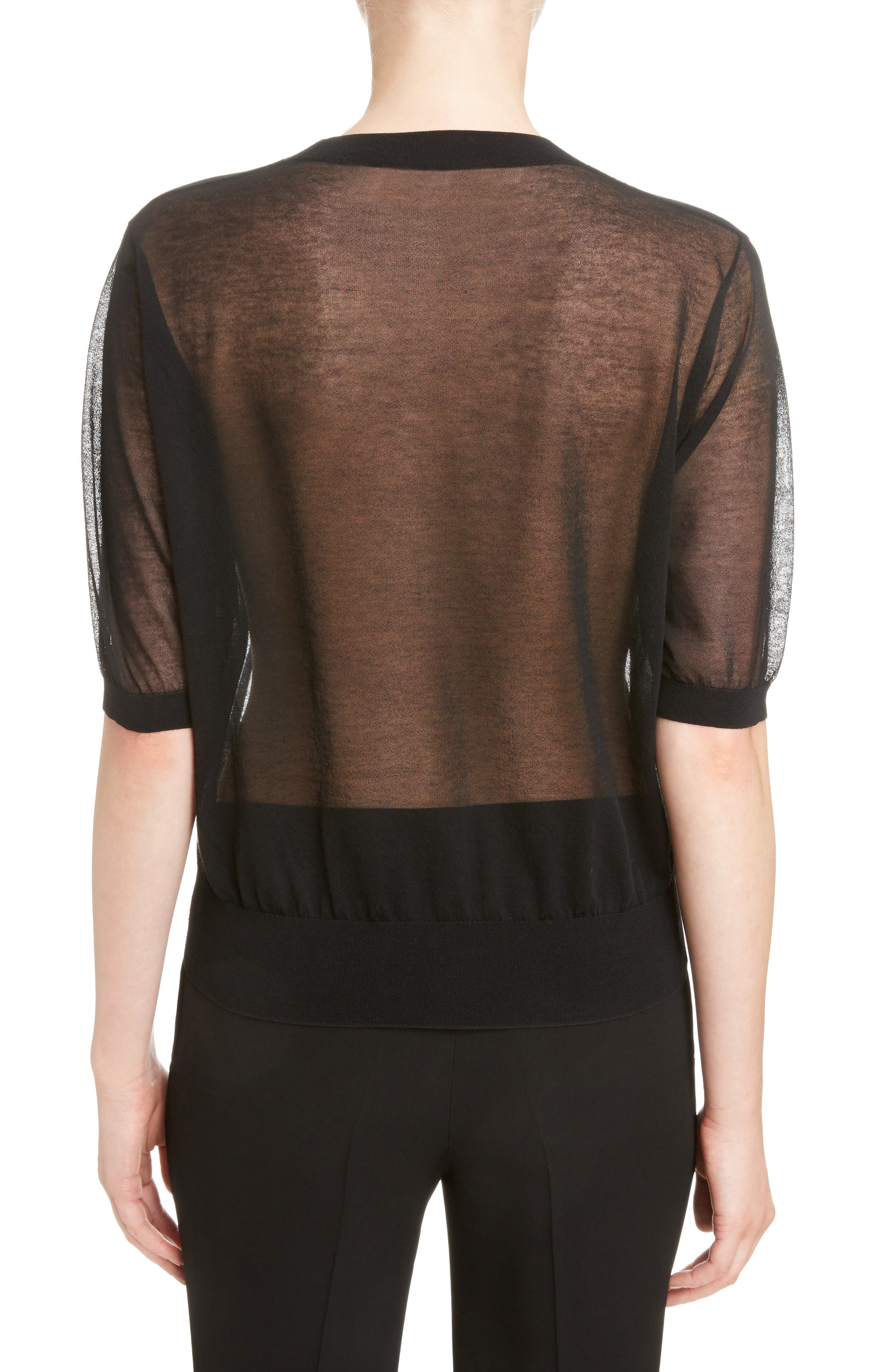 Sheer Cotton Knit Top,                             Alternate thumbnail 2, color,                             Black