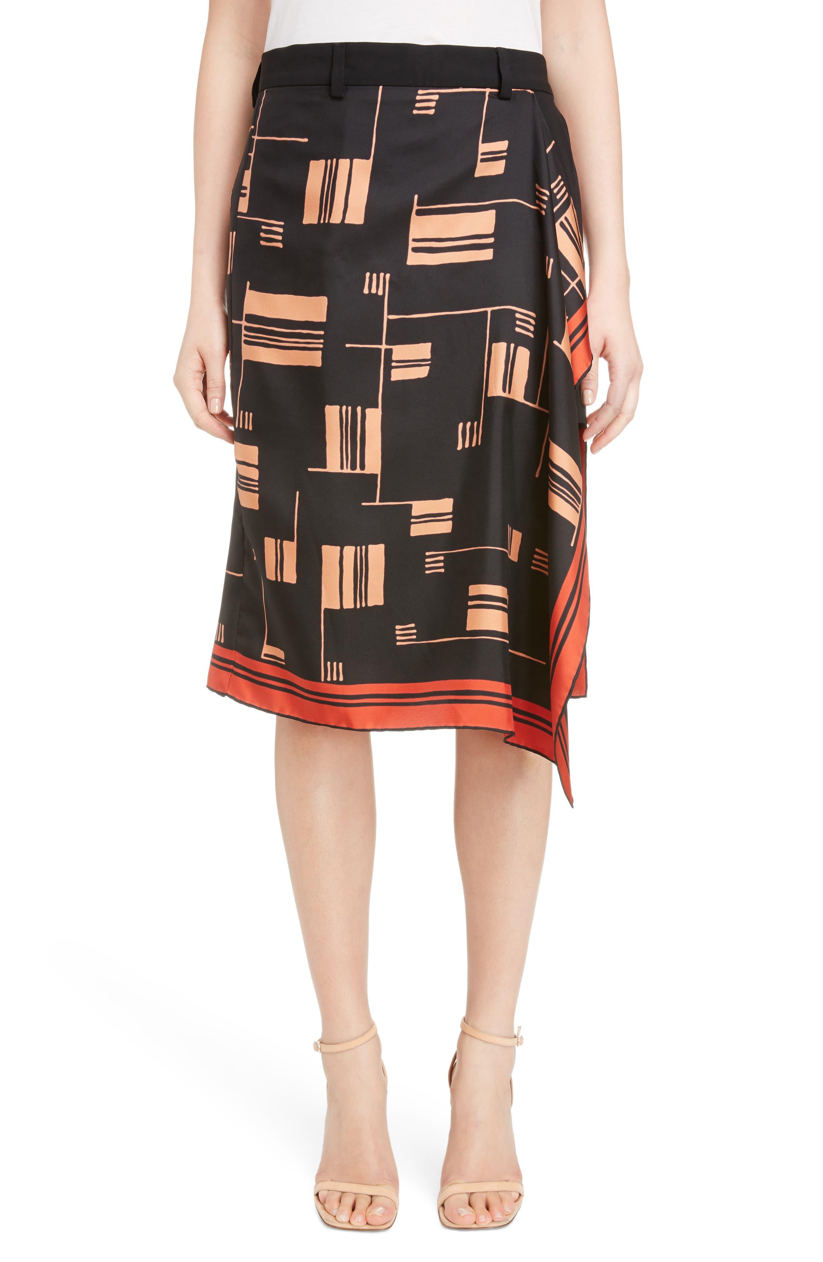 Scarf Overlay Silk Shorts,                             Main thumbnail 1, color,                             Black