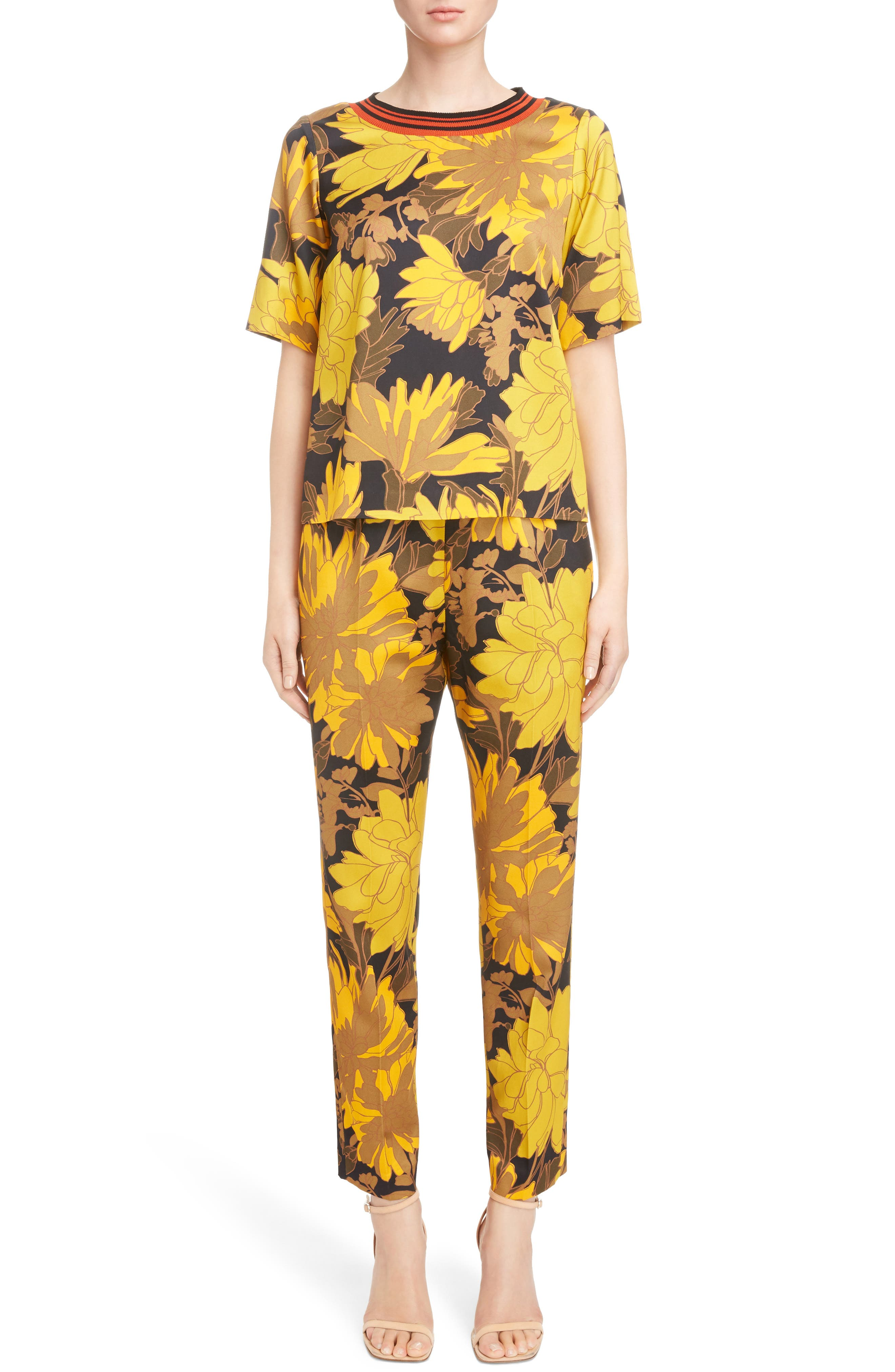 Print Ankle Pants,                             Alternate thumbnail 7, color,                             Yellow