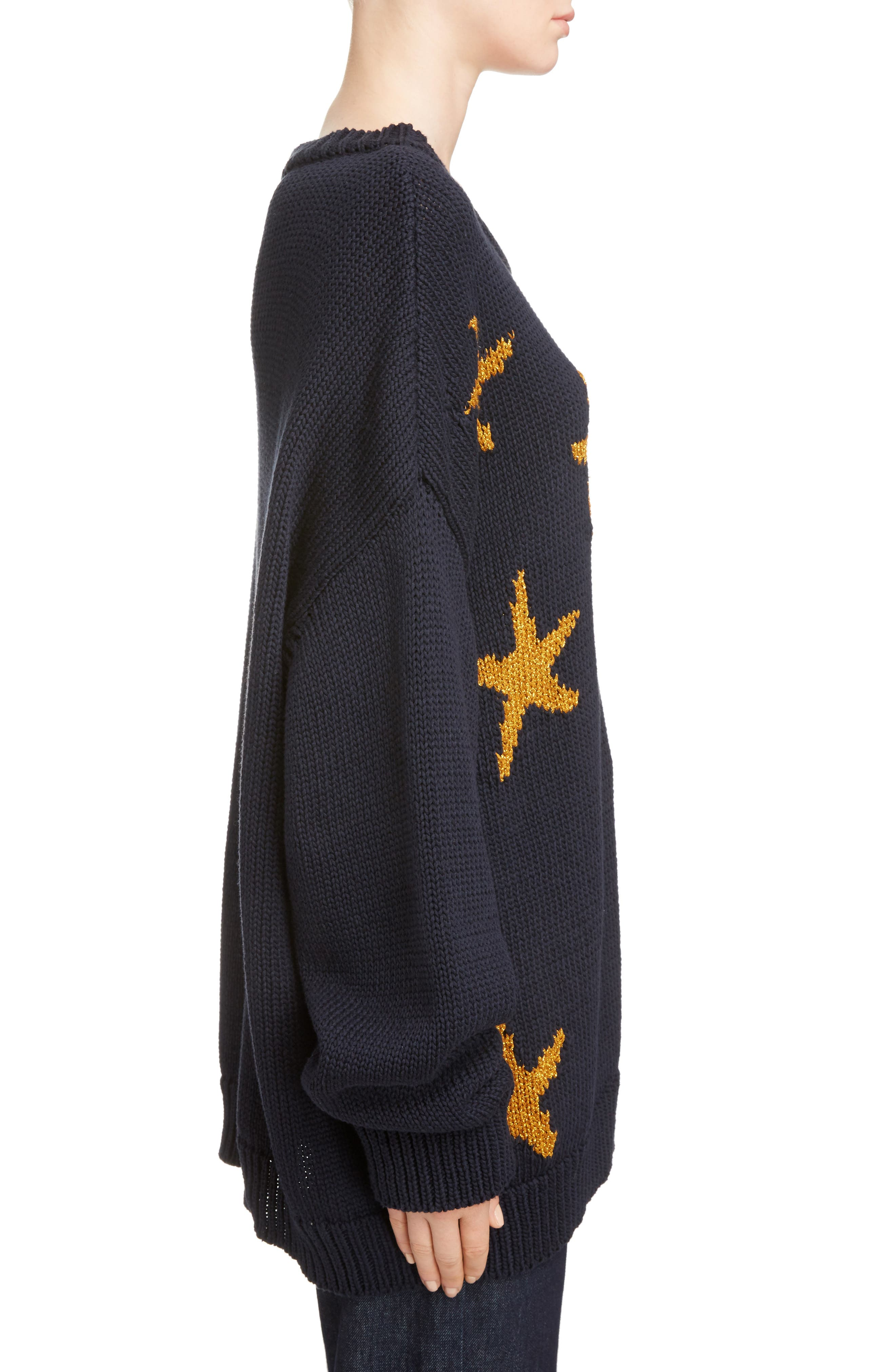 Starfish Intarsia Sweater,                             Alternate thumbnail 4, color,                             Navy