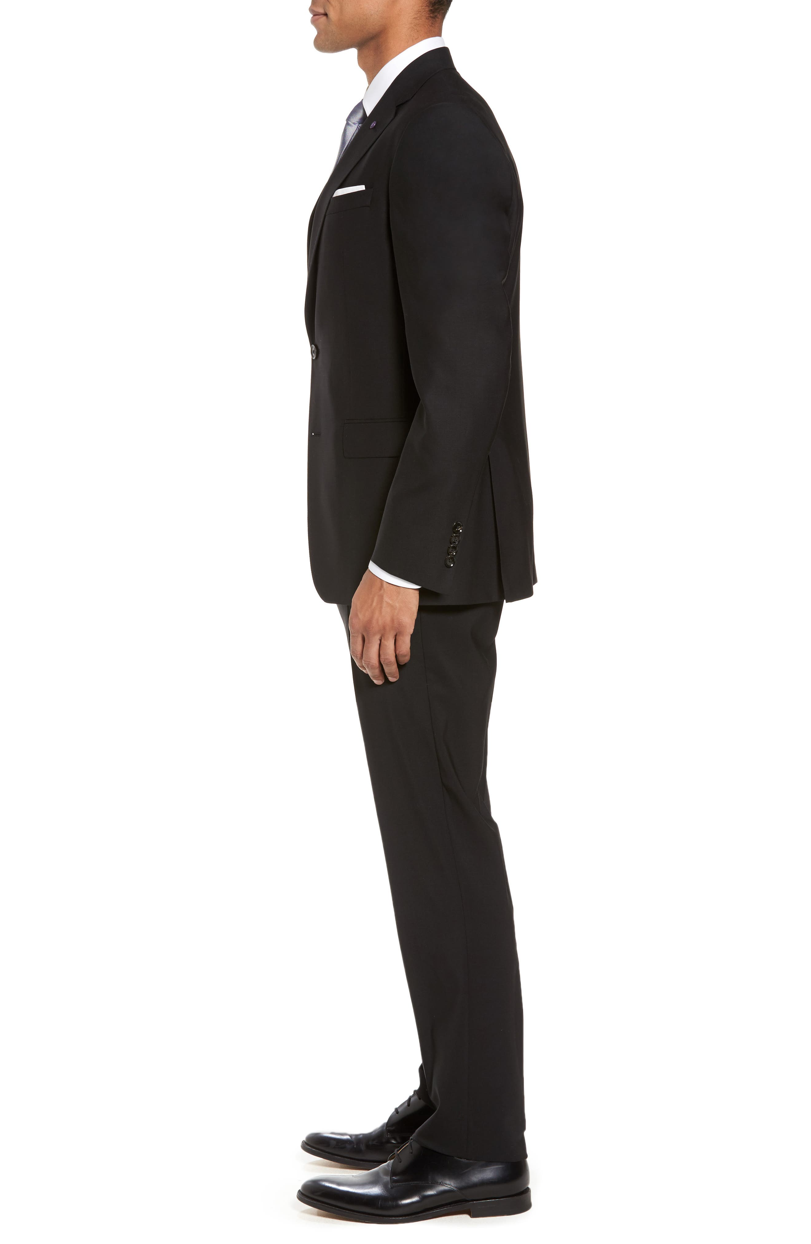 Jay Trim Fit Solid Wool Suit,                             Alternate thumbnail 3, color,                             Black