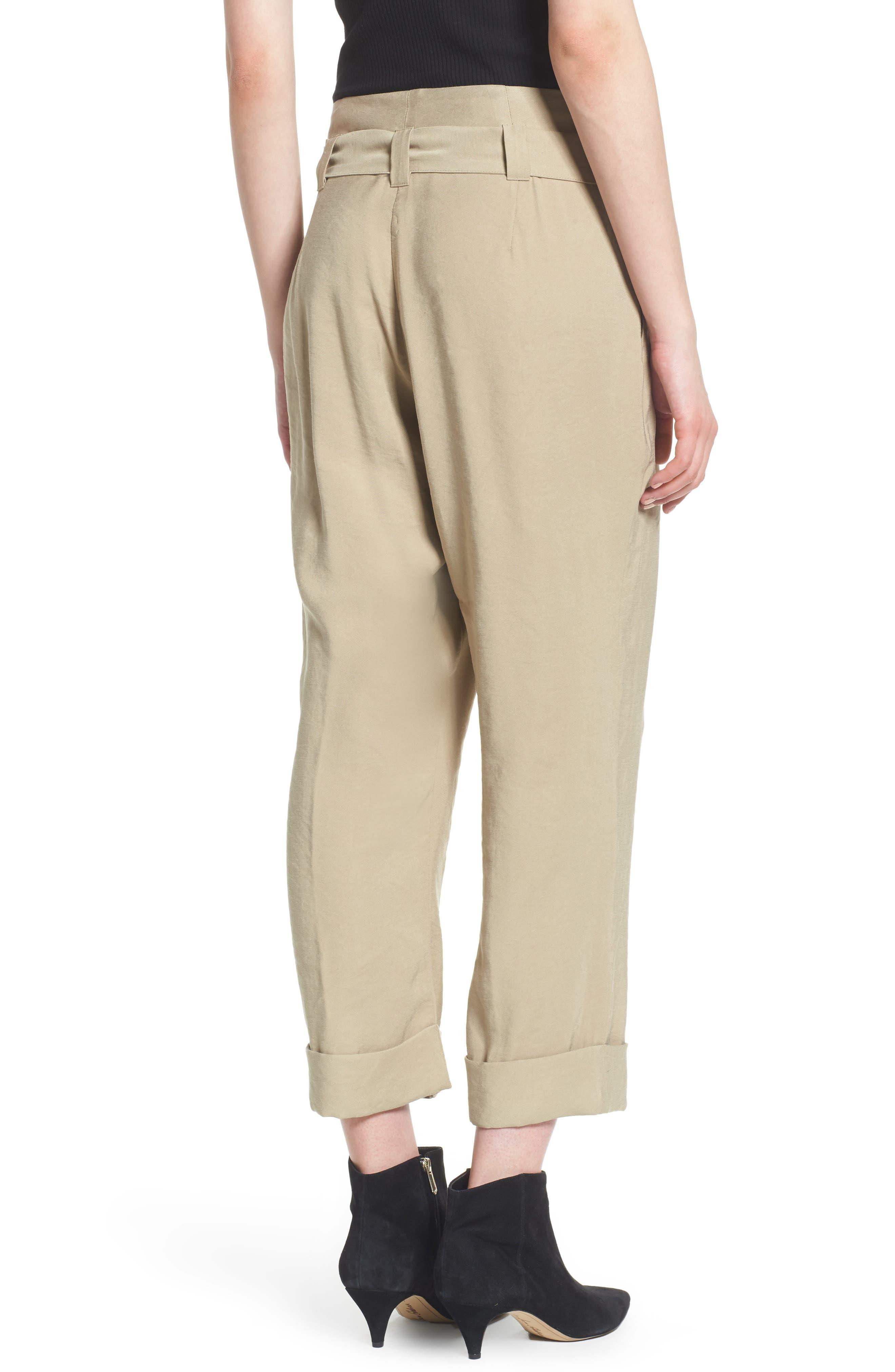 High Waist Tie Front Cropped Pants,                             Alternate thumbnail 2, color,                             Latte