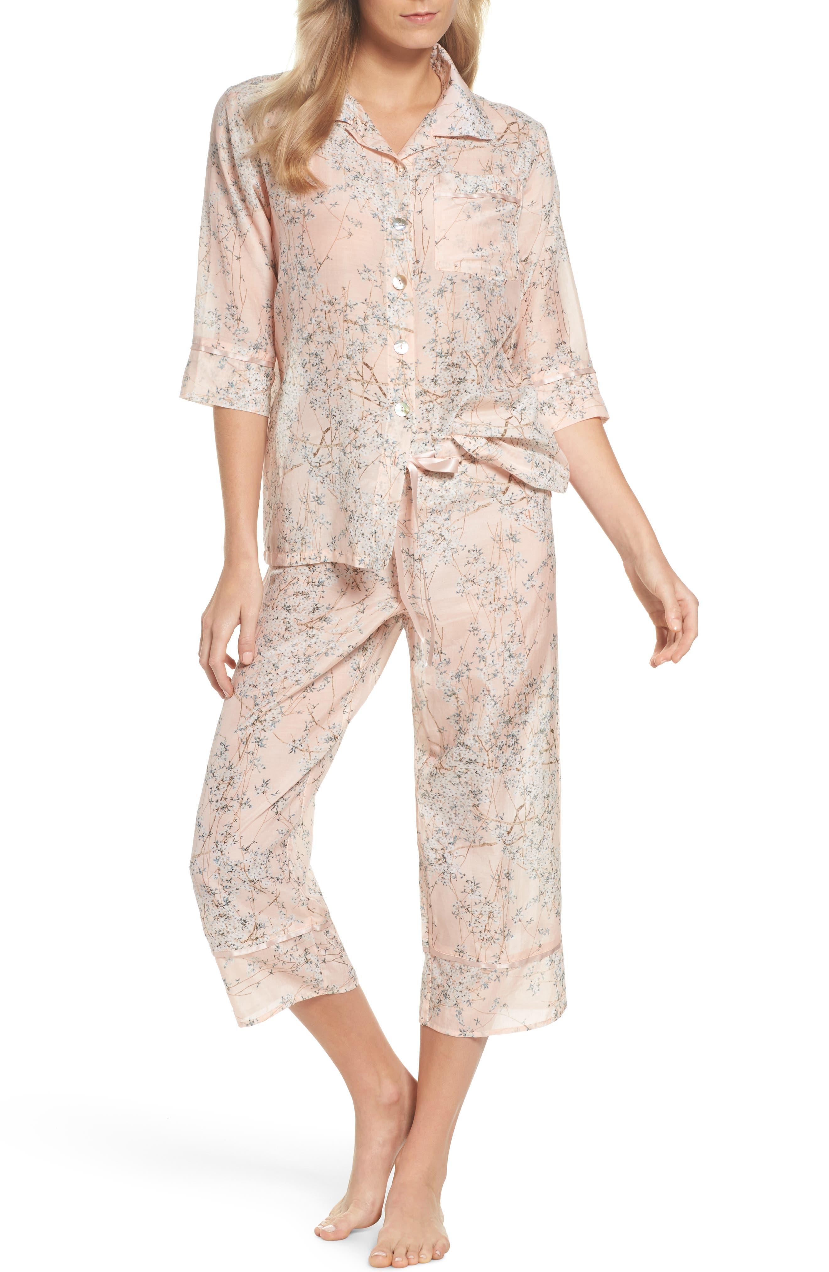Cherry Blossom Cotton & Silk Crop Pajamas,                             Main thumbnail 1, color,                             Pink