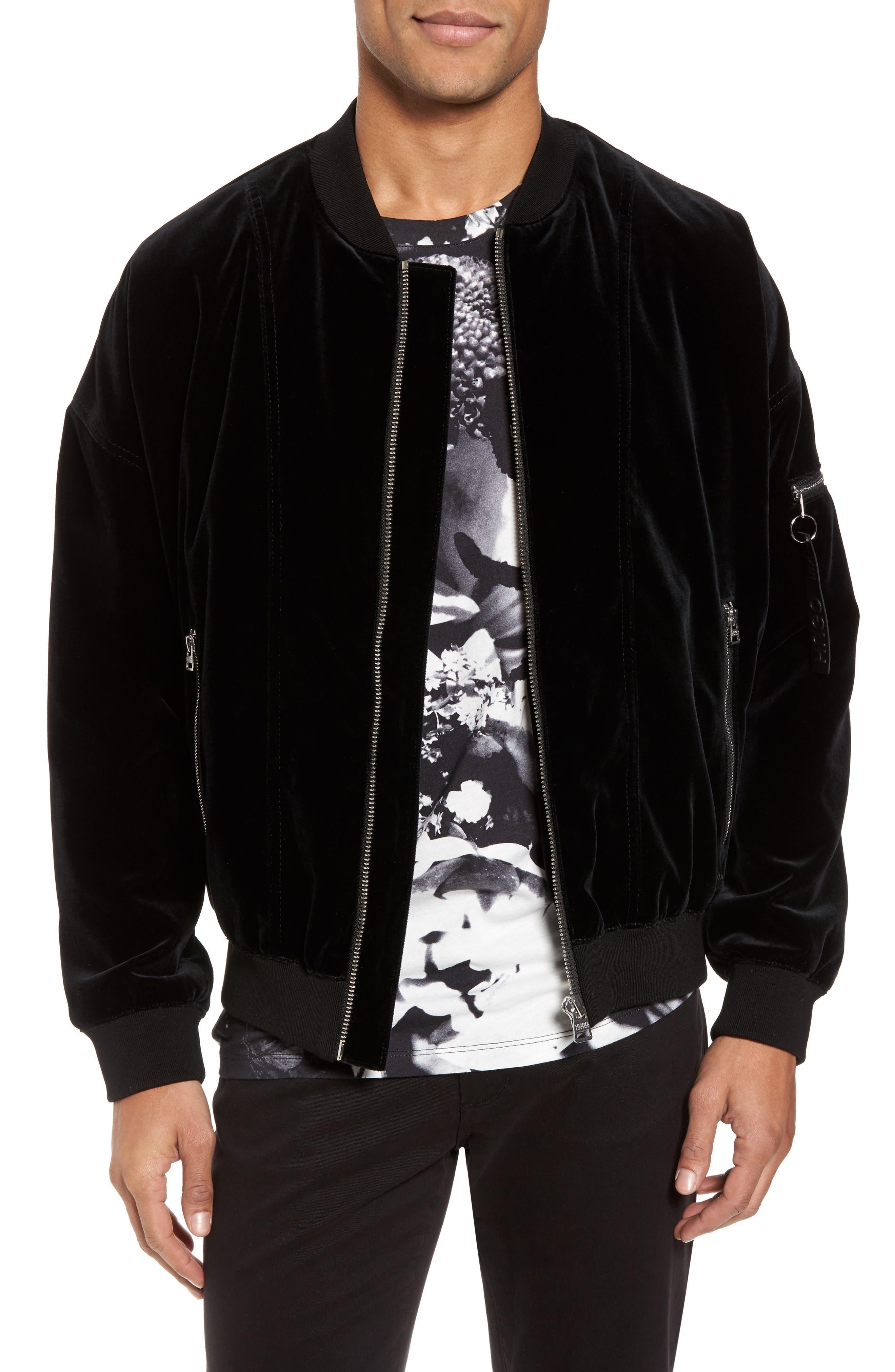 Main Image - BOSS Bitrel Velvet Bomber Jacket