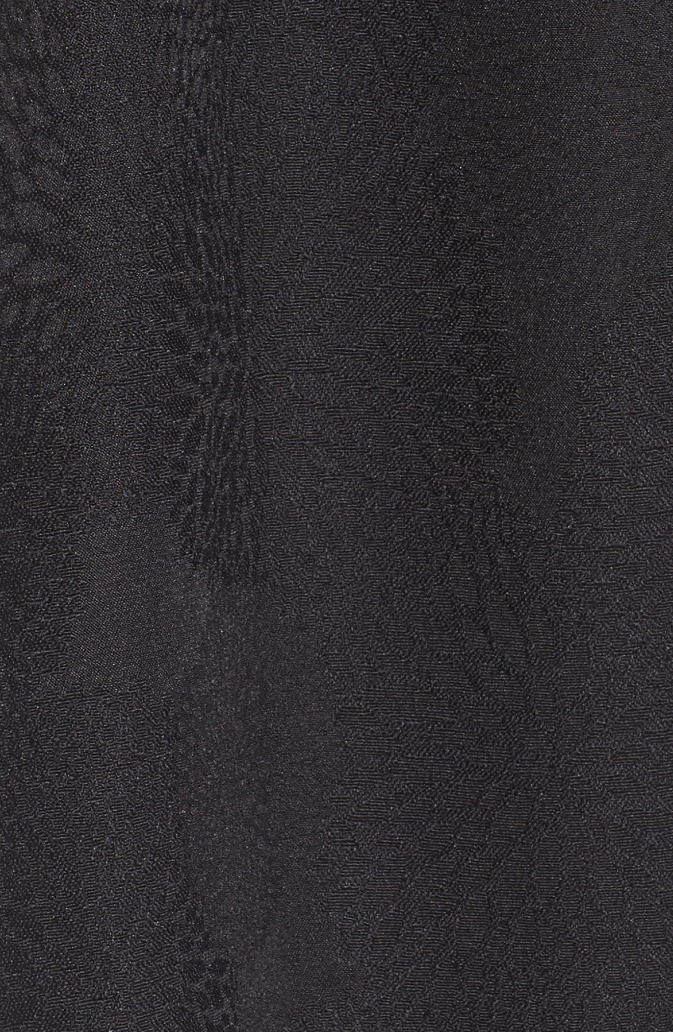 Jacqaurd Fit & Flare Dress,                             Alternate thumbnail 5, color,                             Black