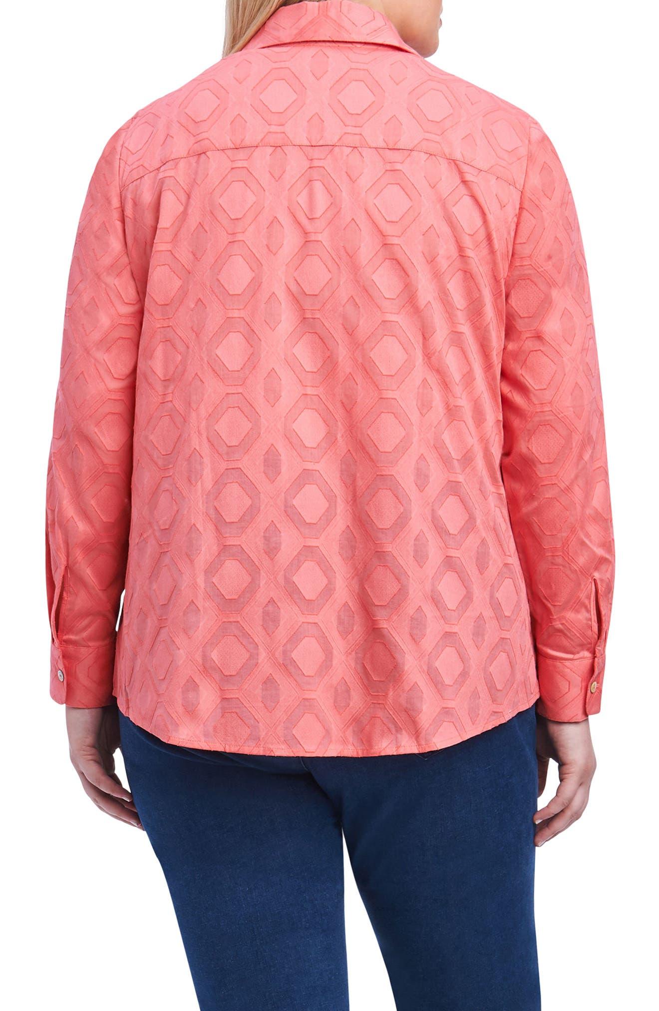 Ava Diamond Clip Jacquard Shirt,                             Alternate thumbnail 2, color,                             Sunset Coral