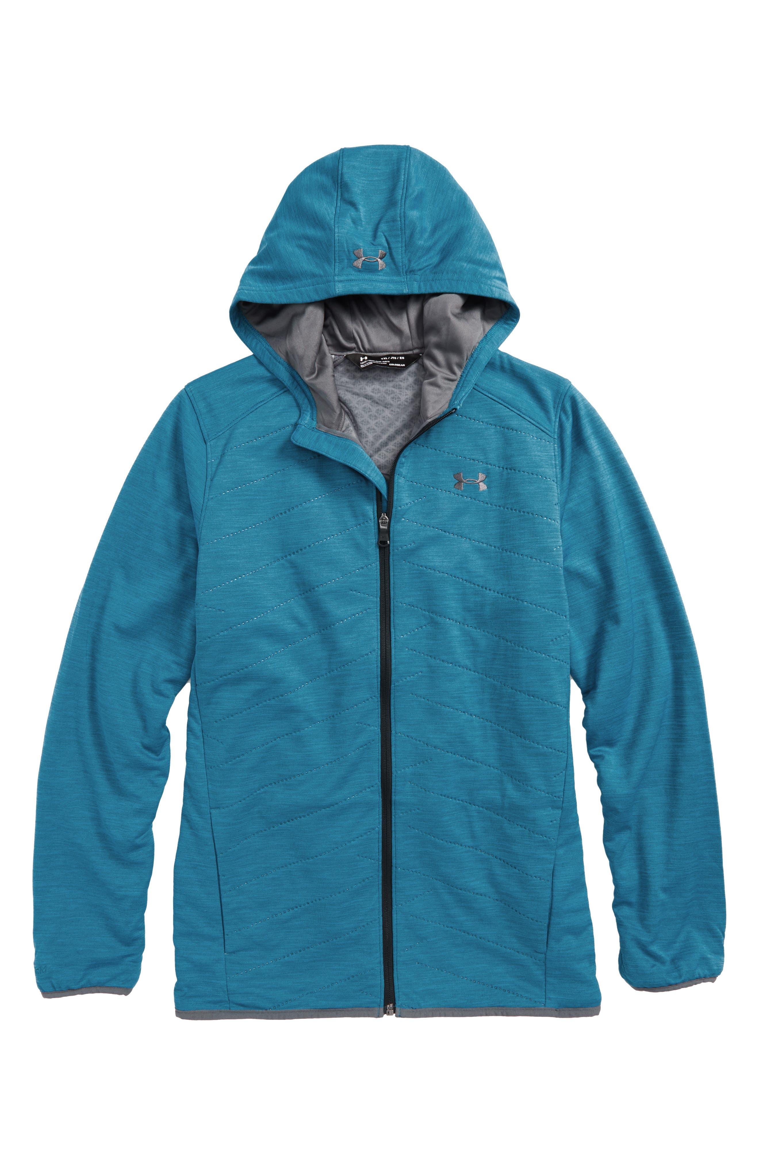 ColdGear<sup>®</sup> Reactor Hybrid Hooded Jacket,                         Main,                         color, Bayou Blue/ Rhino Gray