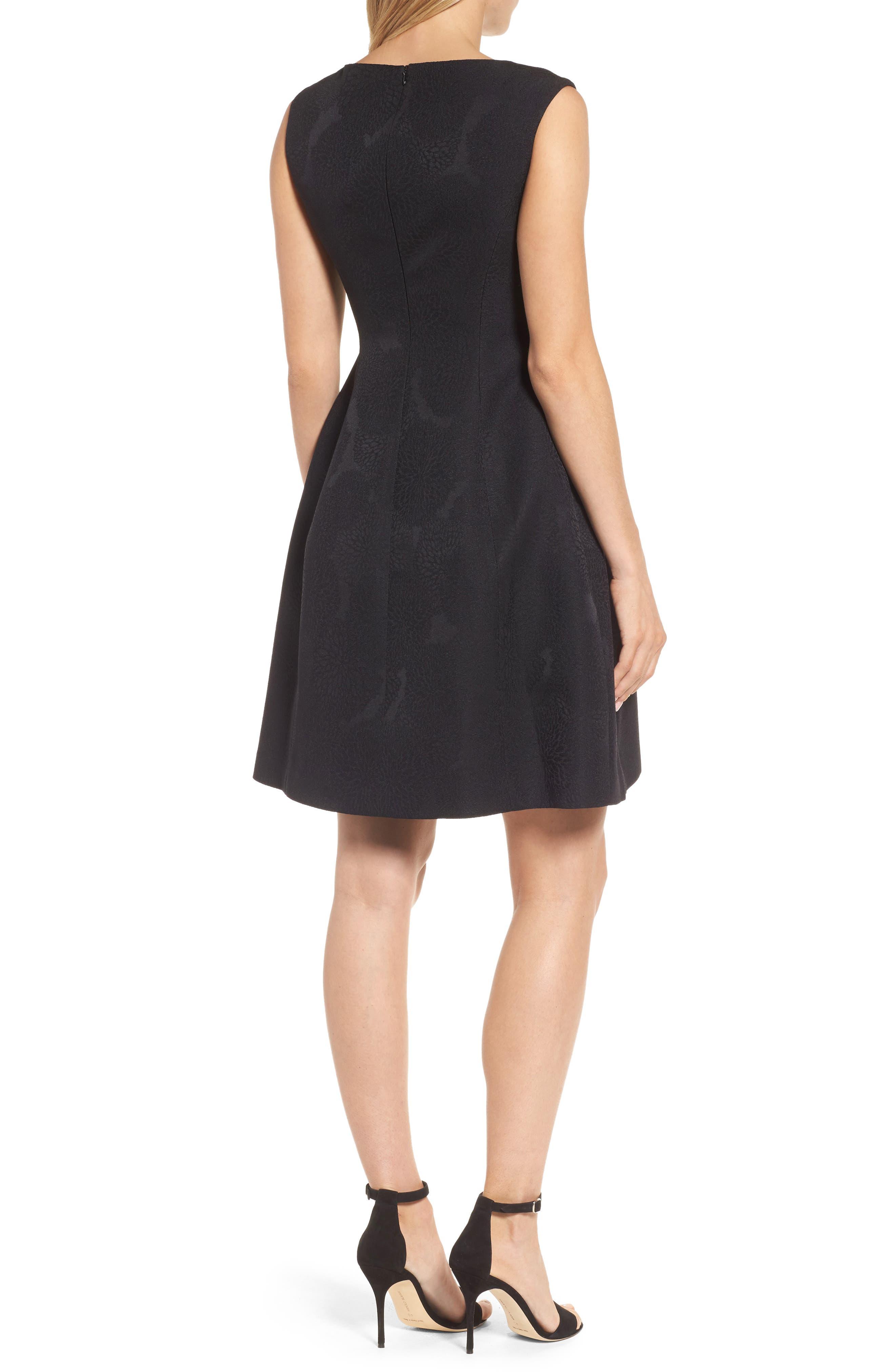 Jacqaurd Fit & Flare Dress,                             Alternate thumbnail 2, color,                             Black