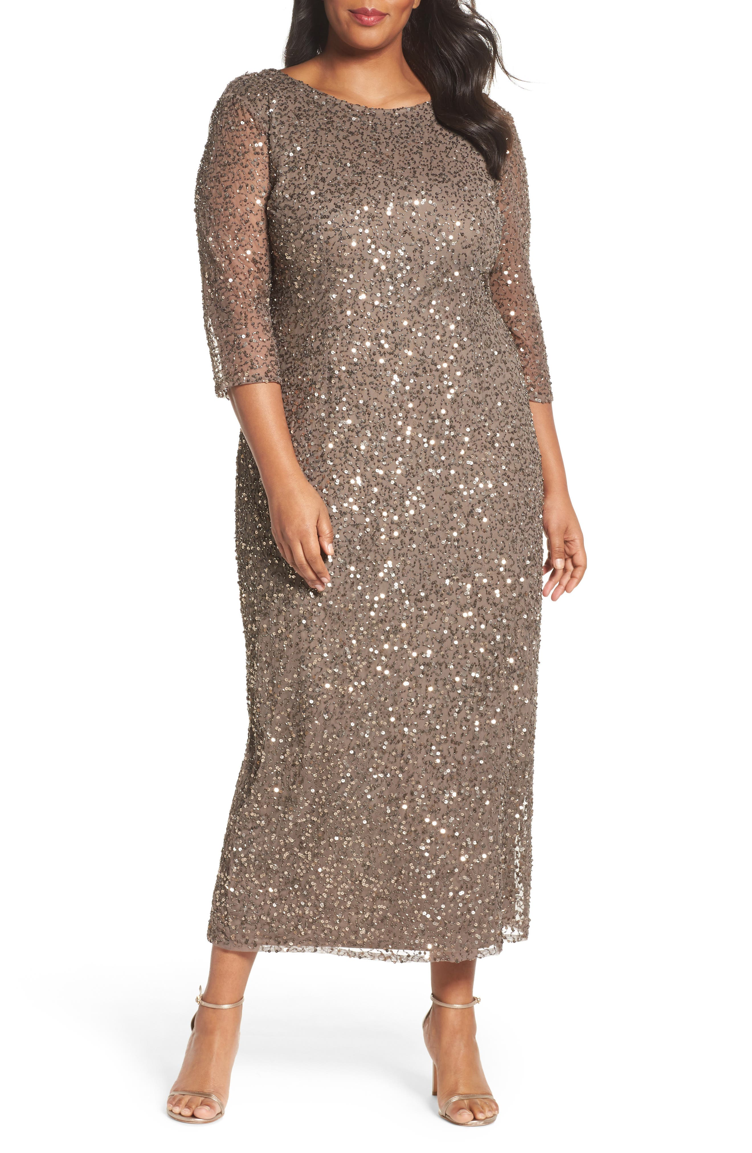 Cowl Back Beaded Gown,                         Main,                         color, Mocha