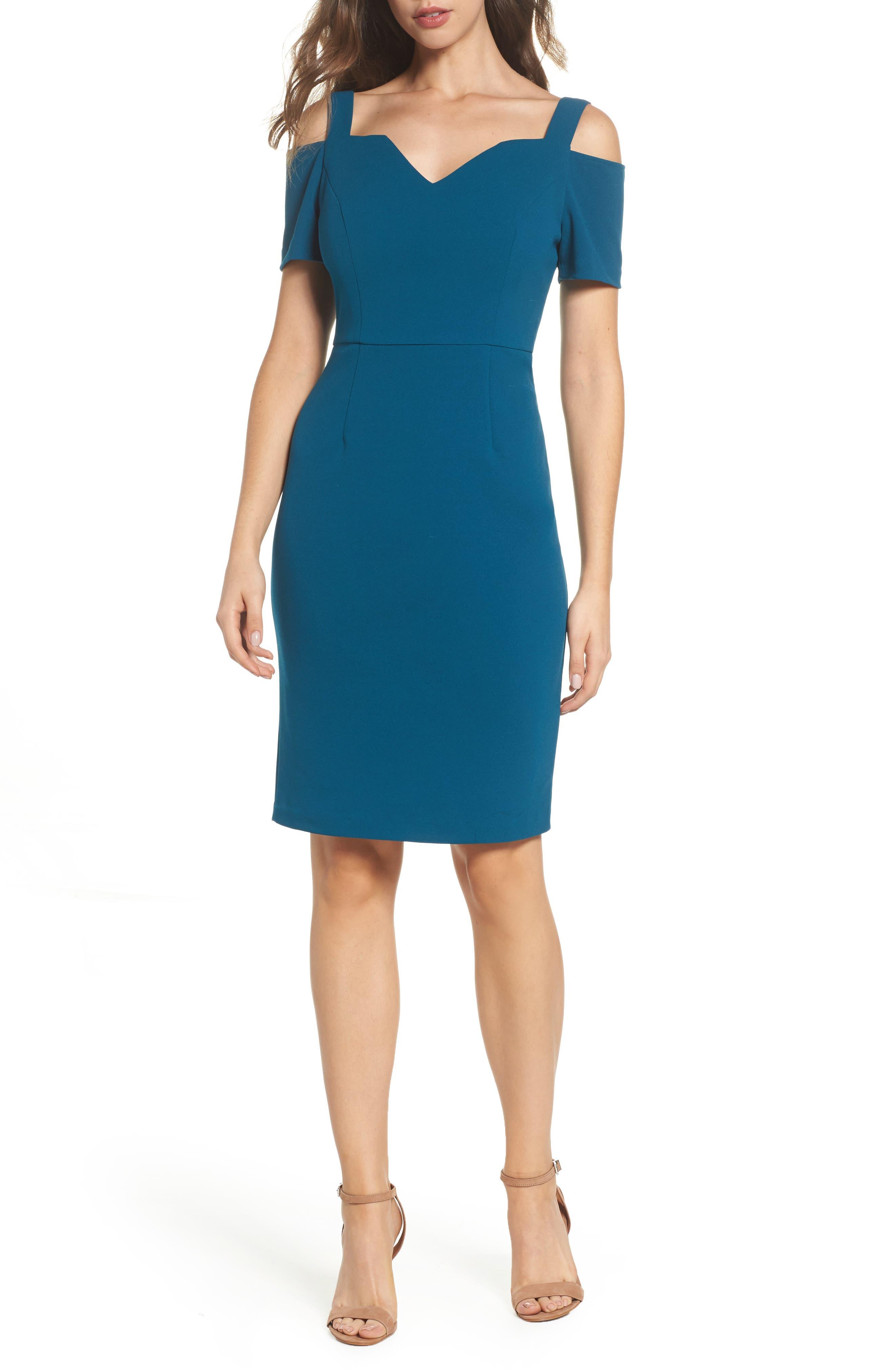 Cold Shoulder Crepe Dress,                         Main,                         color, Deep Teal