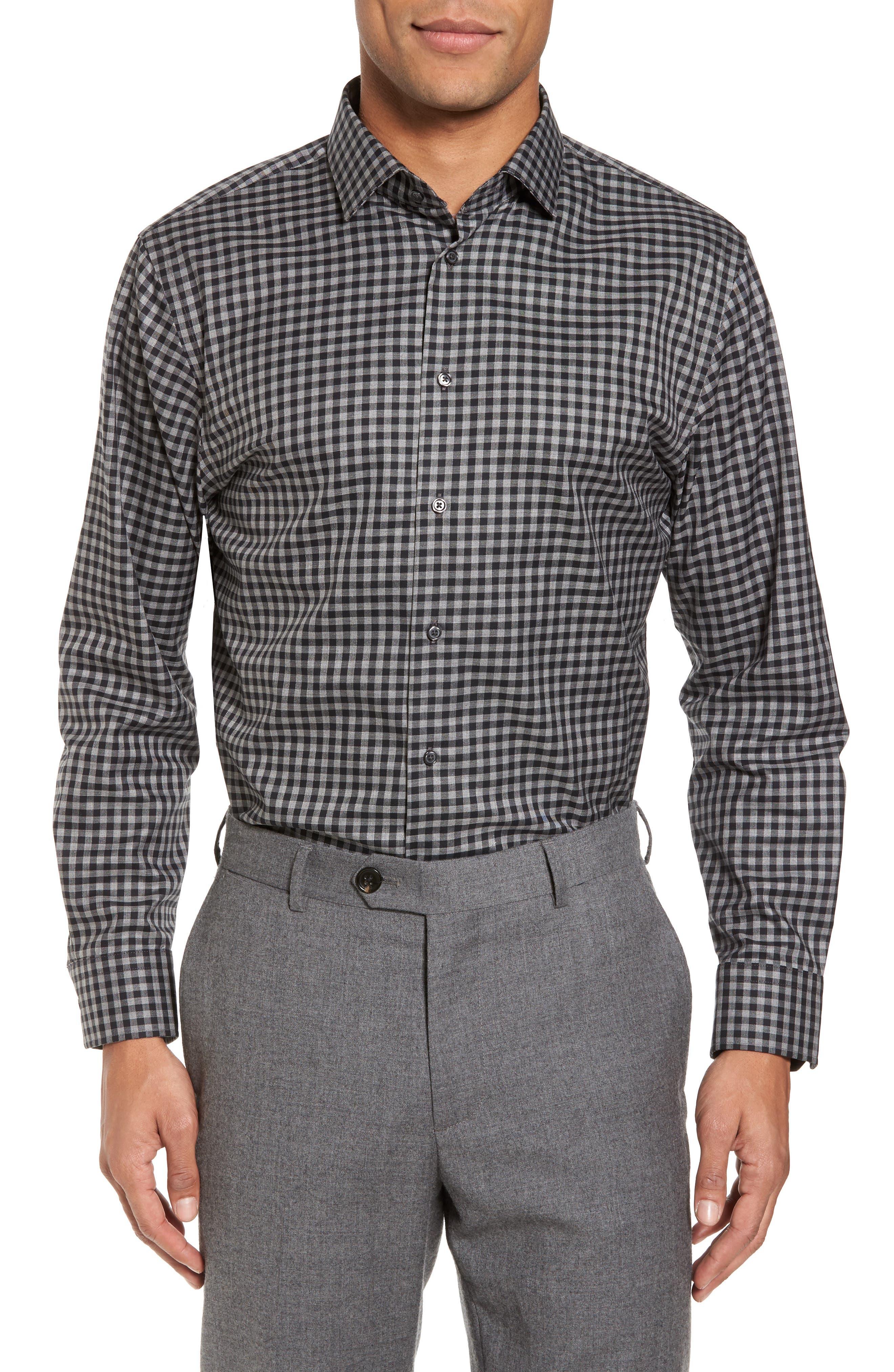 Trim Fit Check Dress Shirt,                         Main,                         color, Black Rock