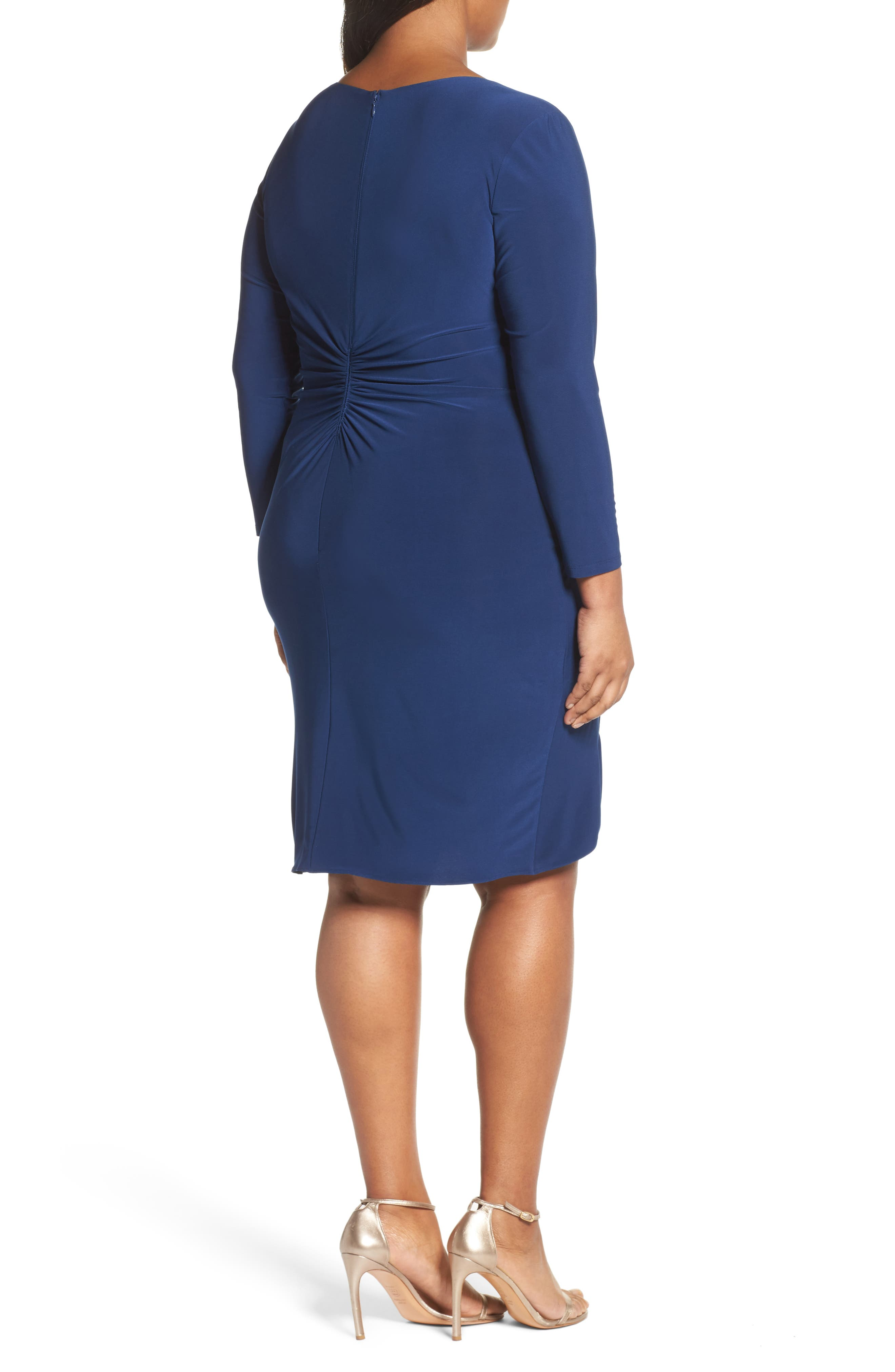 Alternate Image 2  - Adrianna Papell Faux Wrap Jersey Dress (Plus Size)