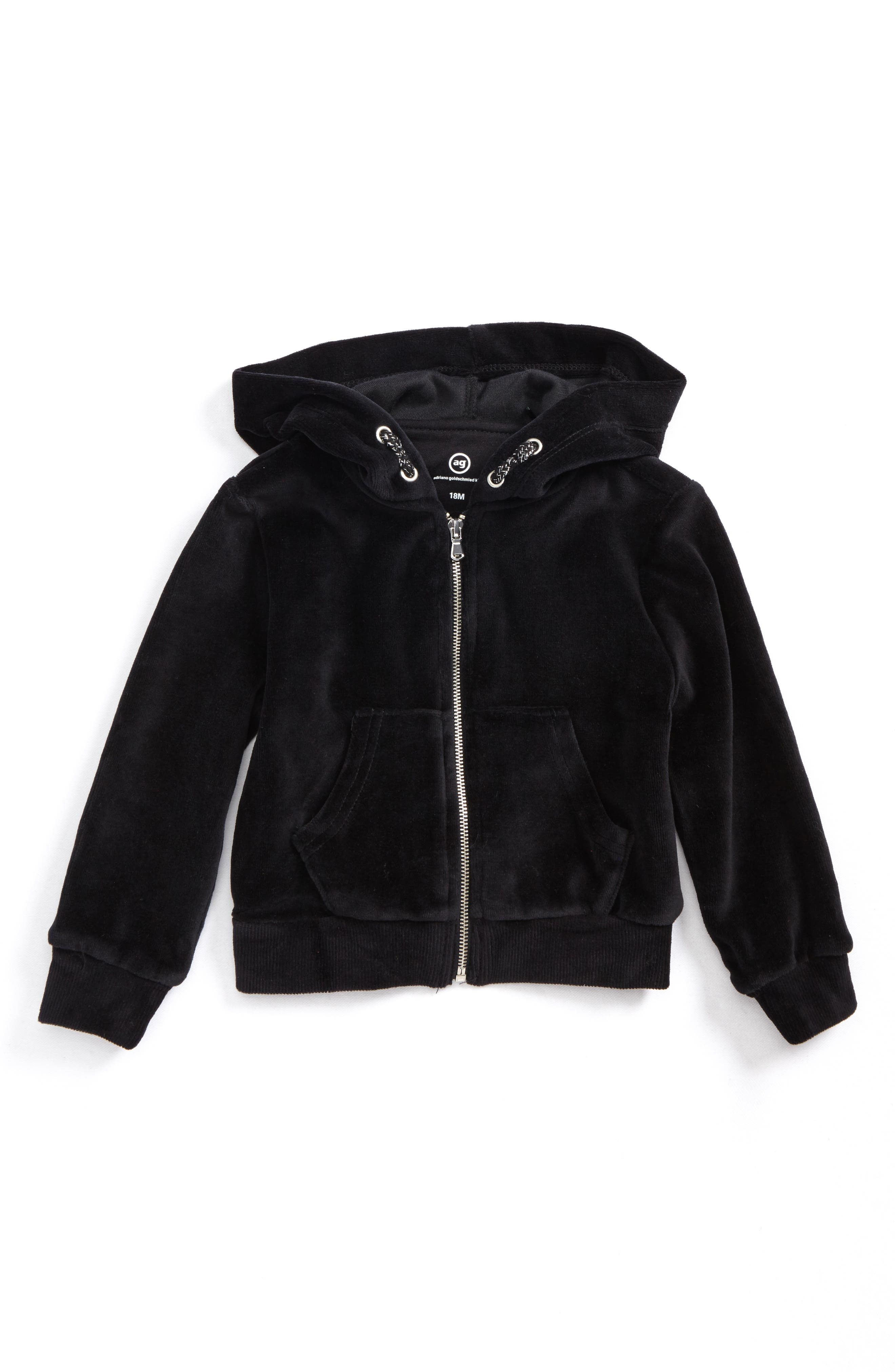 Velour Hoodie,                             Main thumbnail 1, color,                             Black