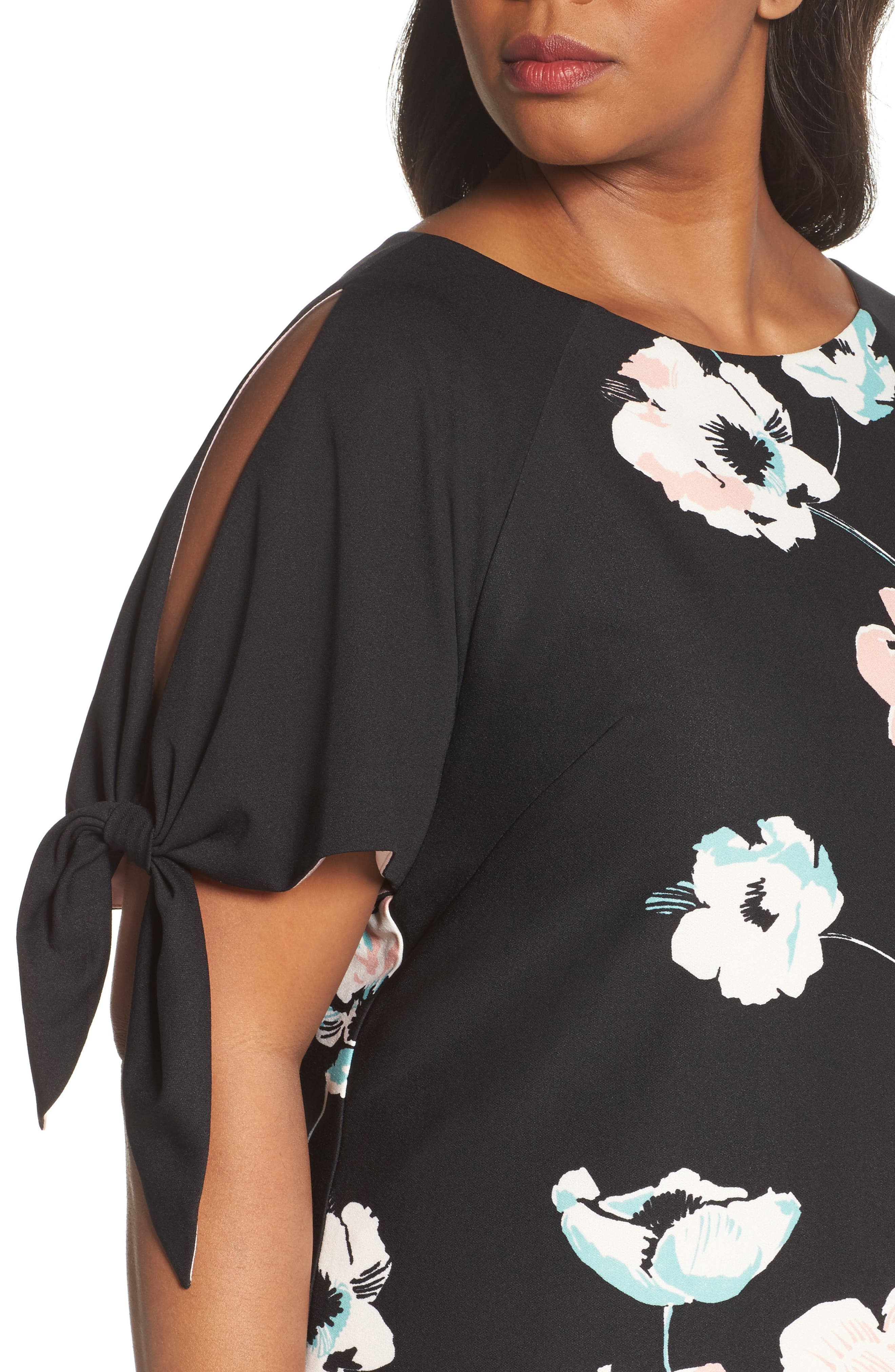 Slit Sleeve Floral Shift Dress,                             Alternate thumbnail 4, color,                             Black