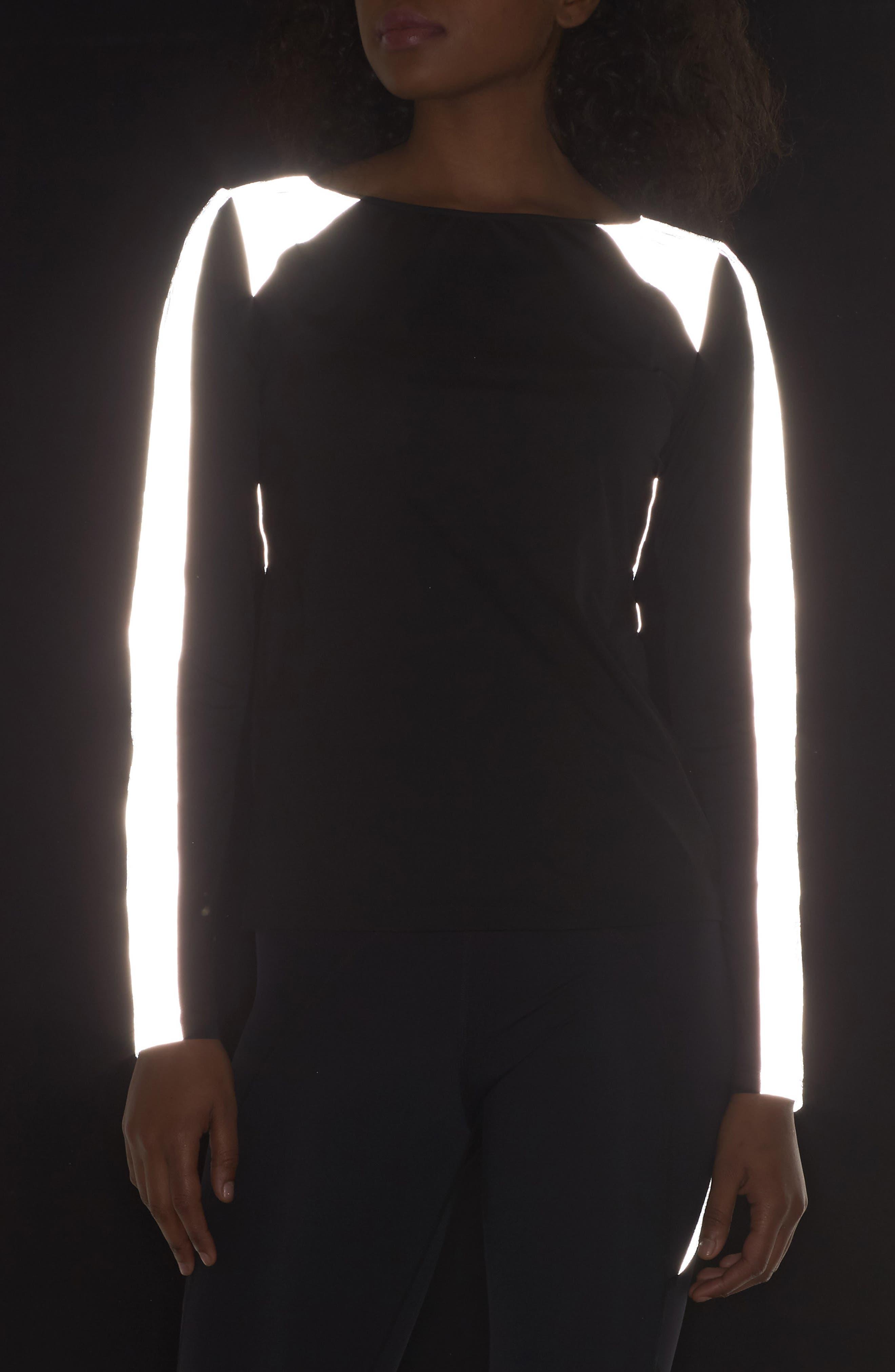 BoomBoom Athletica Reflective Body-Con Long Sleeve Tee,                             Alternate thumbnail 4, color,                             Black/Reflective