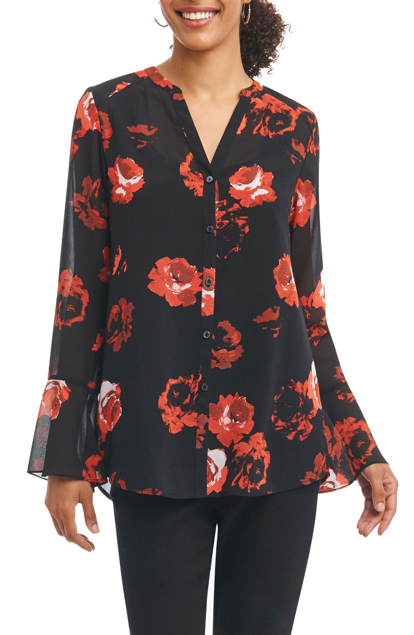Main Image - Foxcroft Ali in Rose Bell Sleeve Shirt