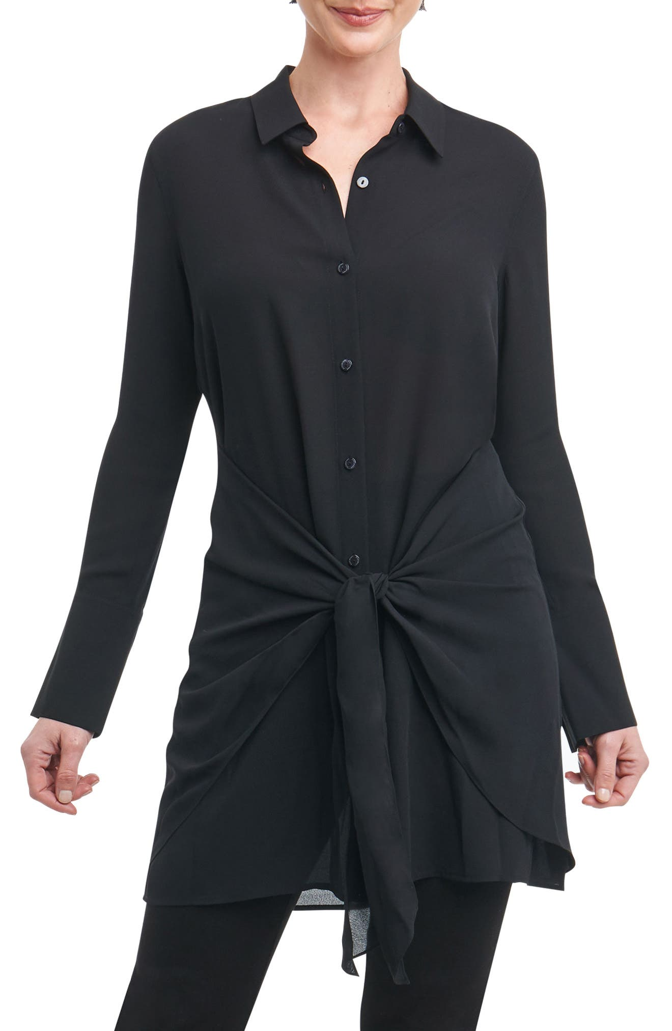 Serena in Solid Crepe Tie-Waist Tunic Shirt,                         Main,                         color, Black