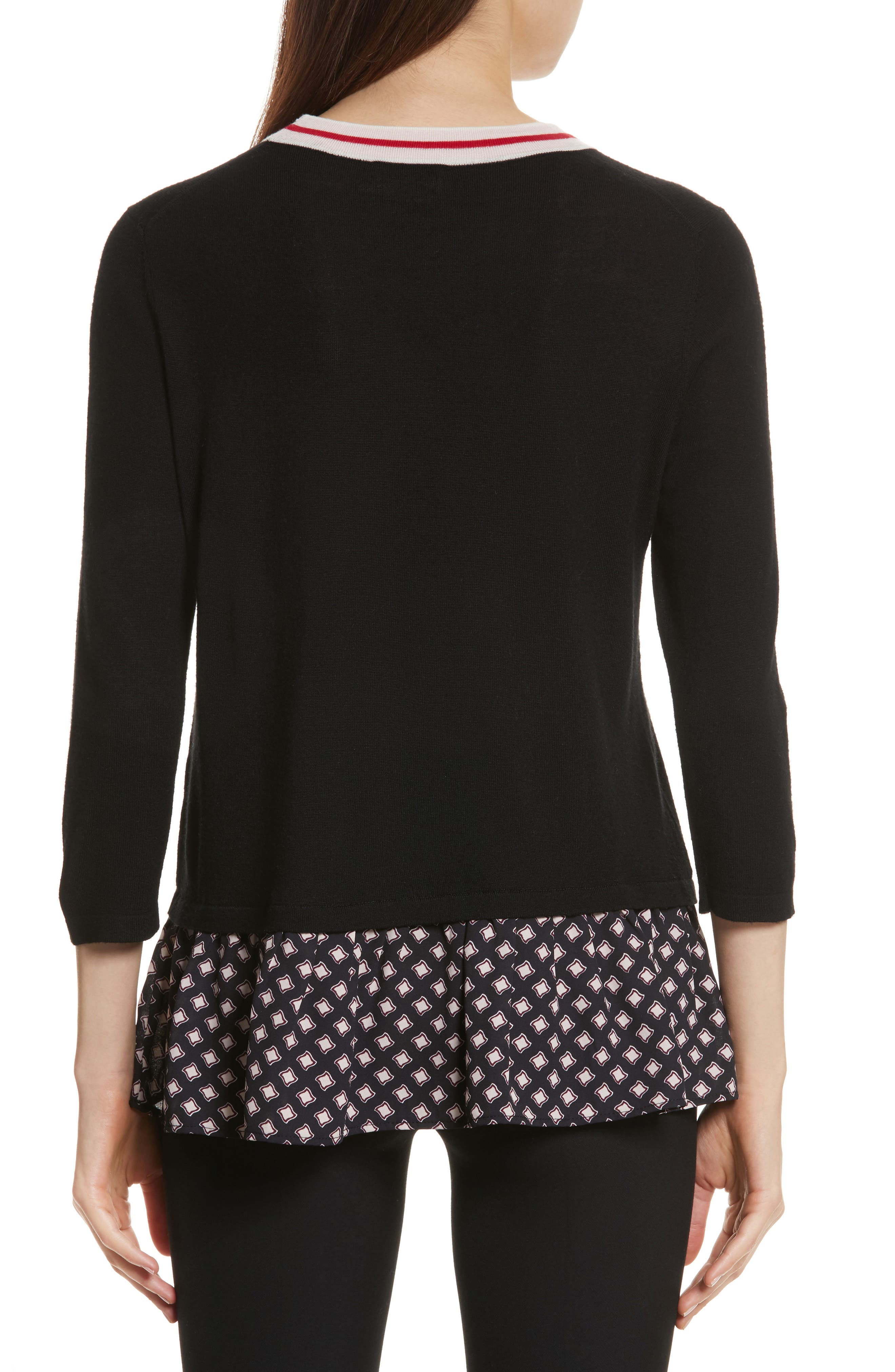 mixed media sweater,                             Alternate thumbnail 2, color,                             Black
