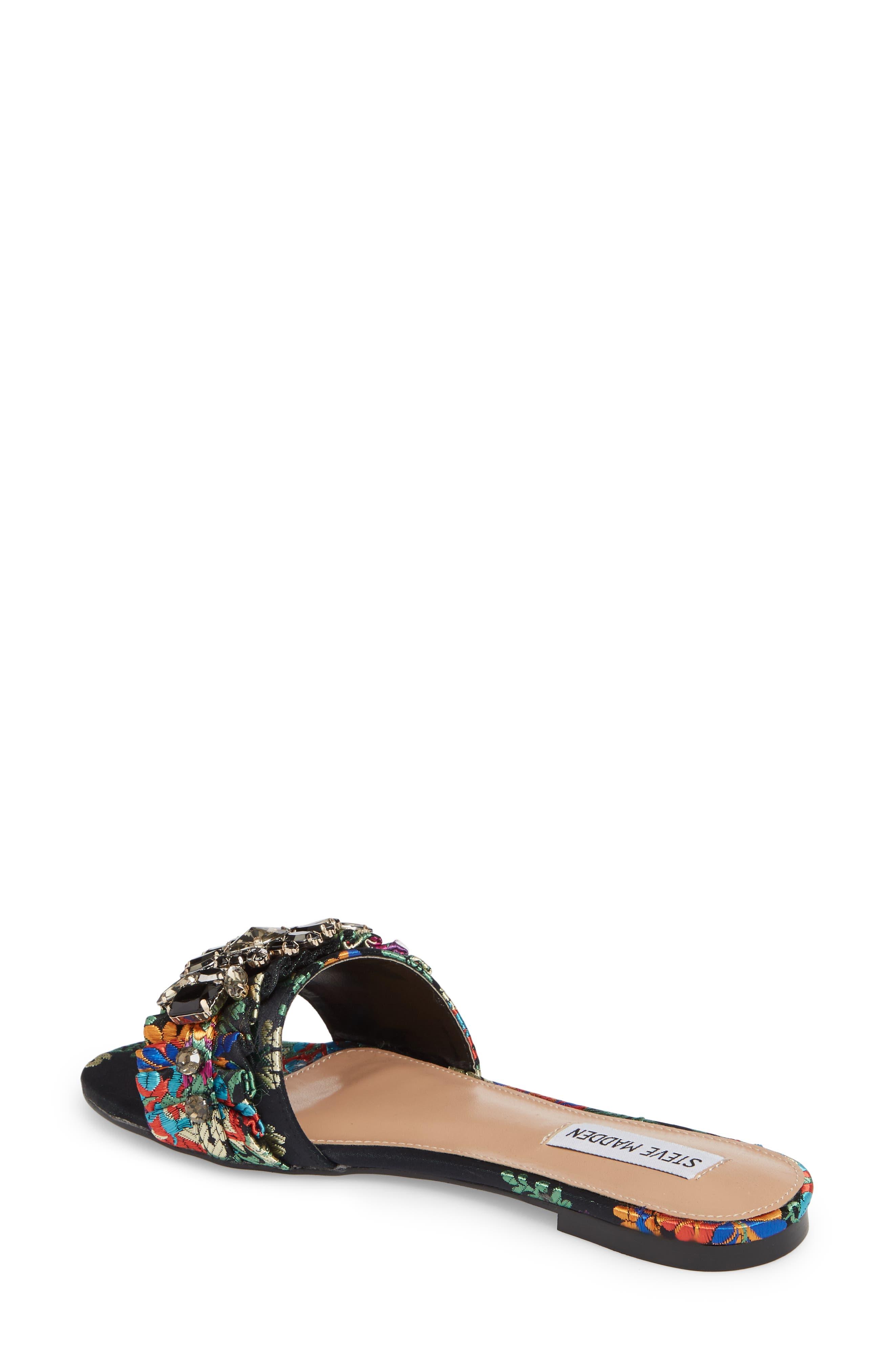 Pomona Crystal Embellished Slide Sandal,                             Alternate thumbnail 2, color,                             Black Multi