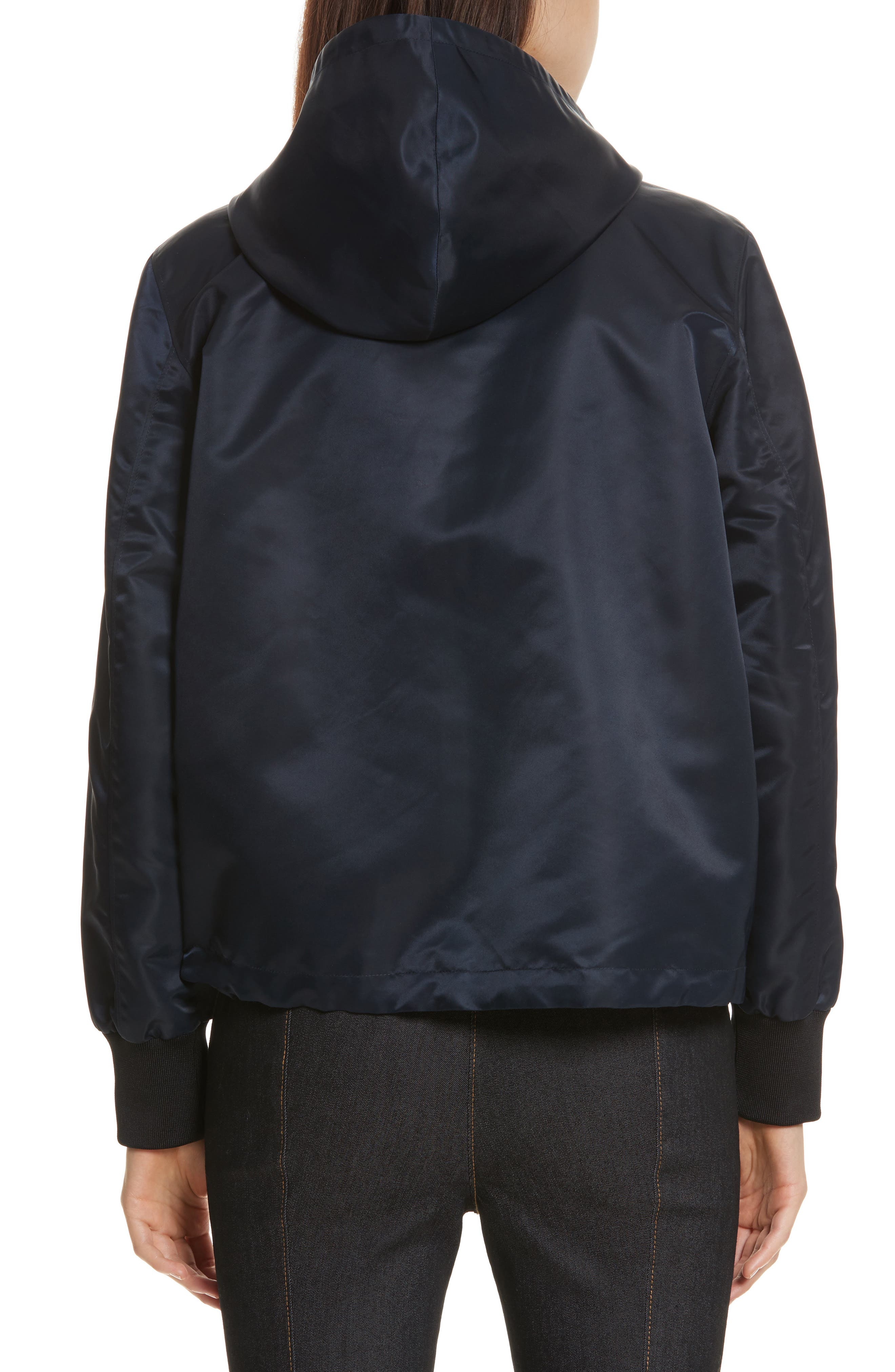 Collette Hooded Feather Trim Jacket,                             Alternate thumbnail 2, color,                             Navy/ Black