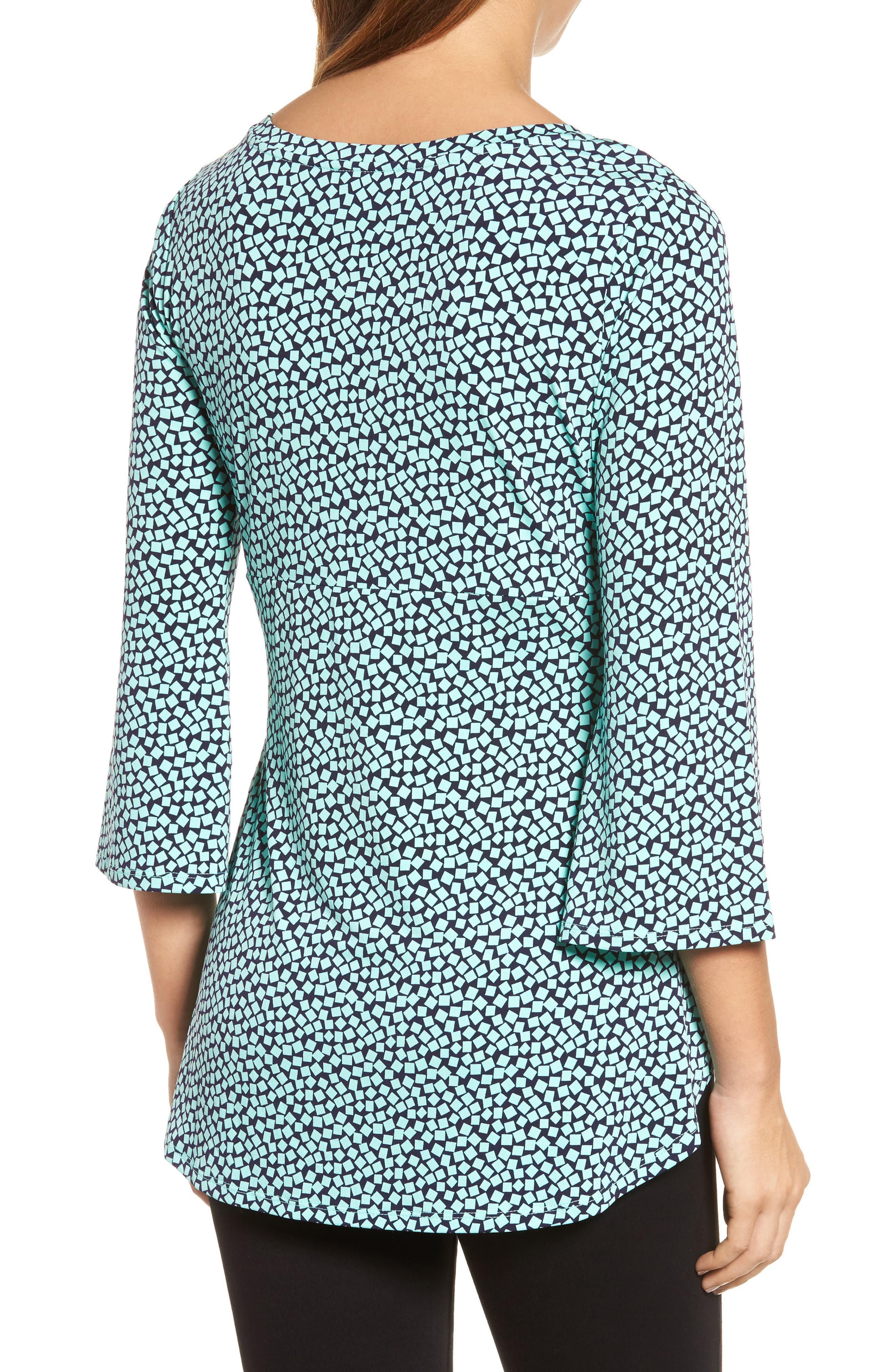 Bell Sleeve Cube Print Top,                             Alternate thumbnail 2, color,                             Sea Glass
