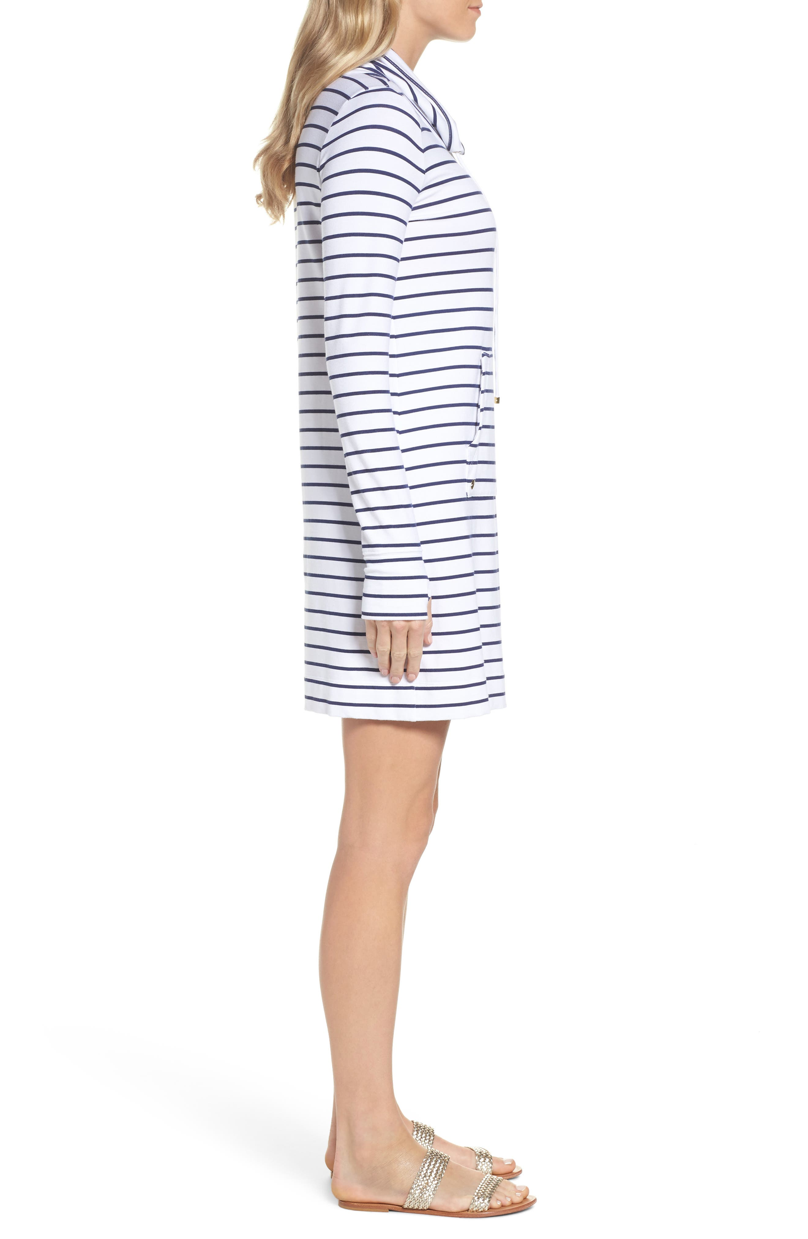 Hilary UPF 50+ Dress,                             Alternate thumbnail 3, color,                             Bright Navy Mystic Stripe