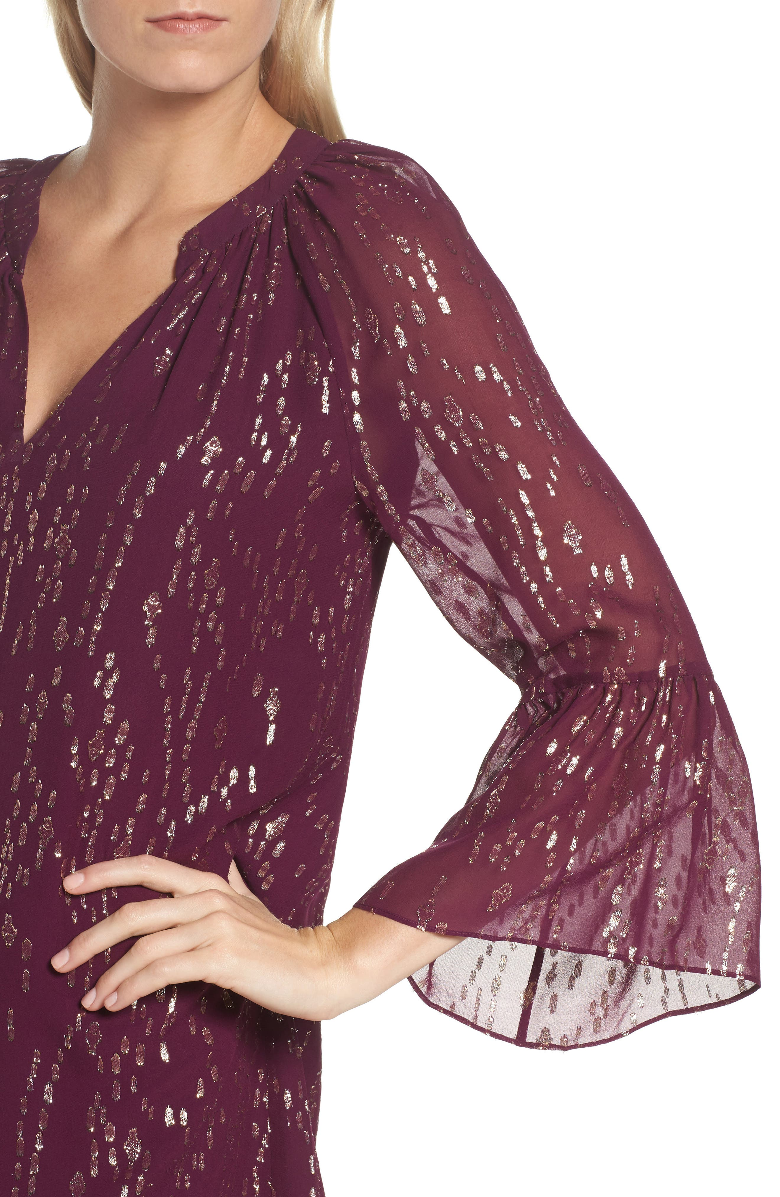 Matilda Tunic Dress,                             Alternate thumbnail 4, color,                             Shiraz