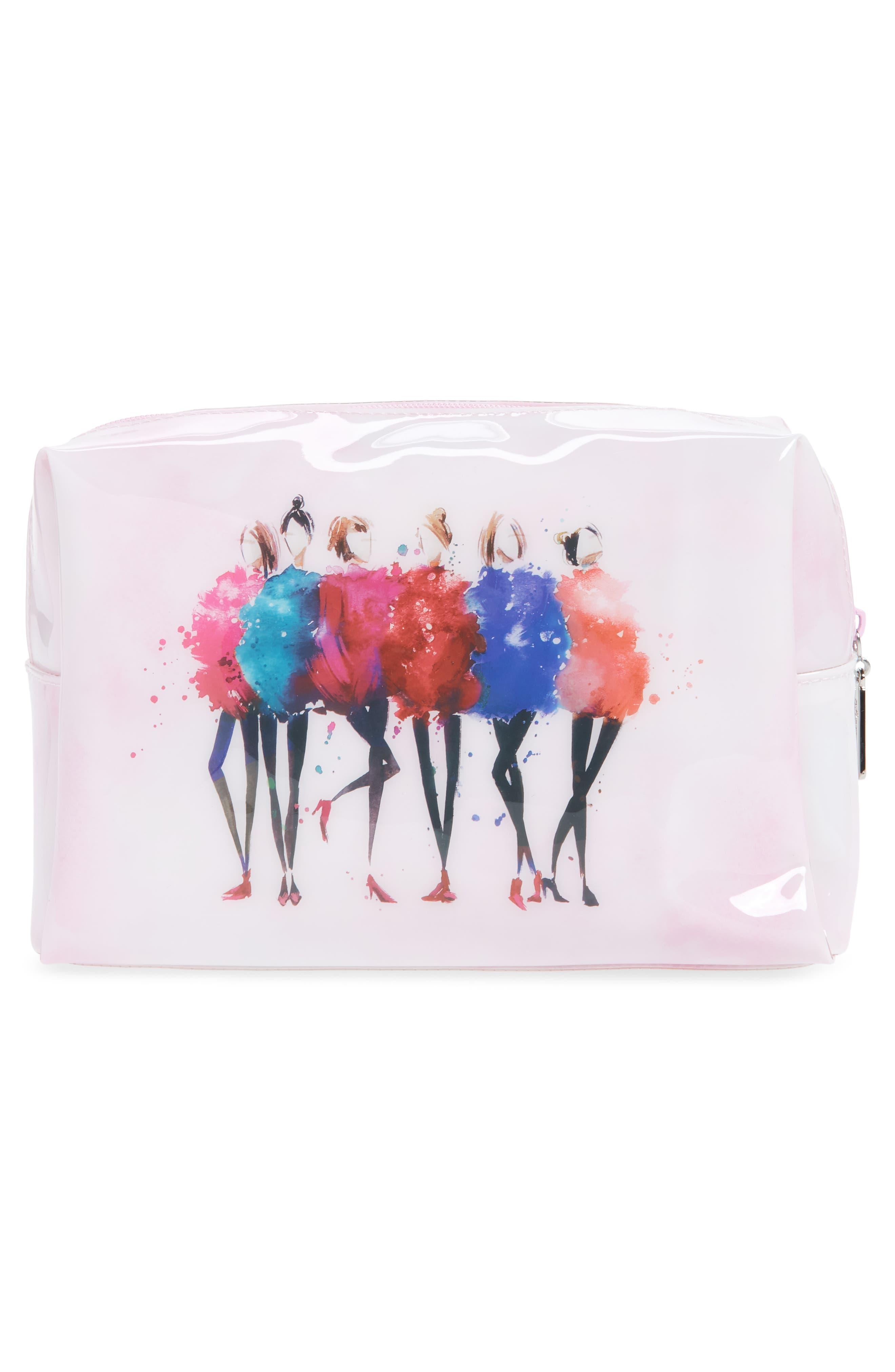 Watercolor Women Large Cosmetics Case,                             Alternate thumbnail 2, color,                             Pink