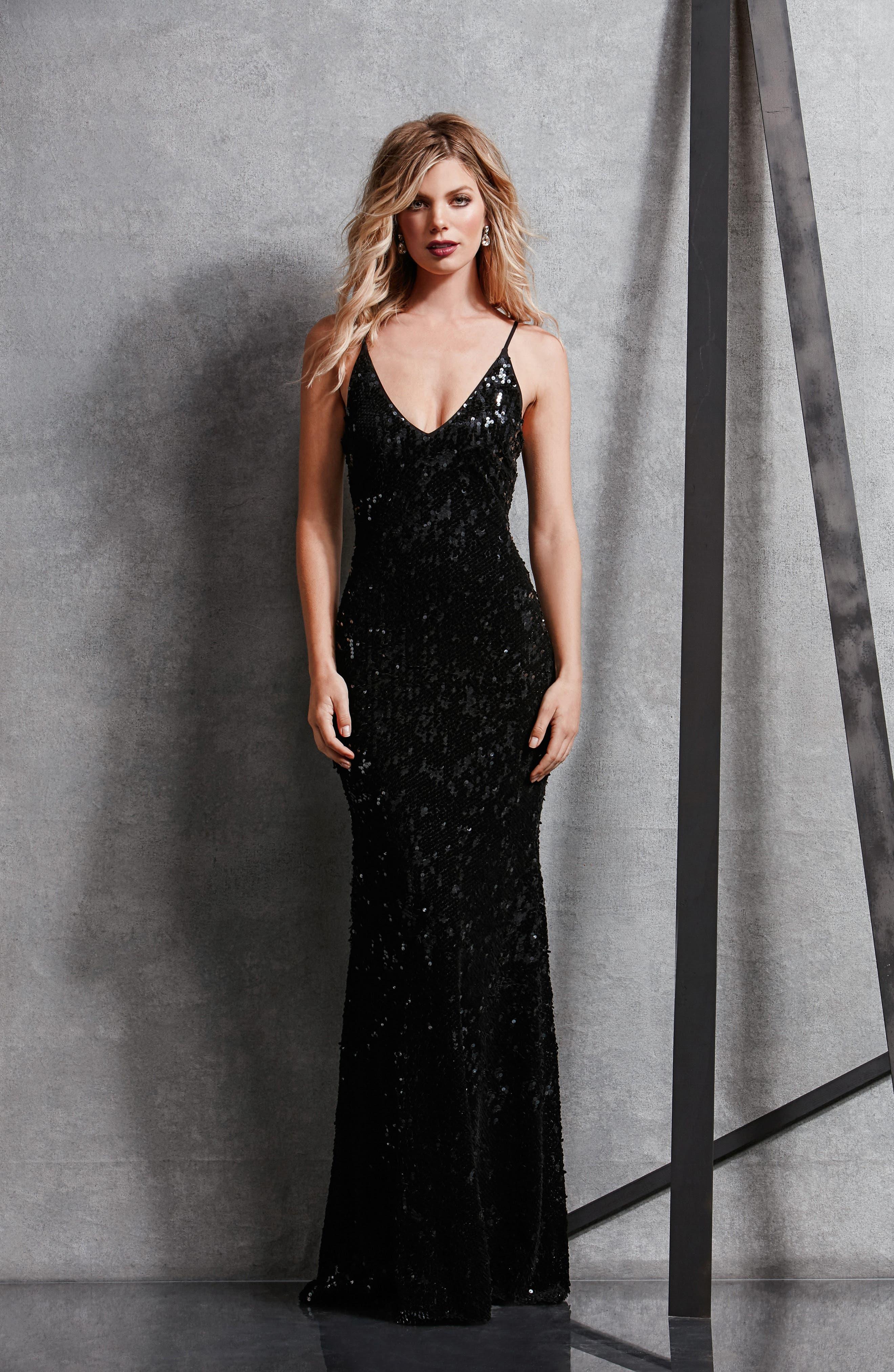Vanessa Velvet Sequin Gown,                             Alternate thumbnail 2, color,                             Black