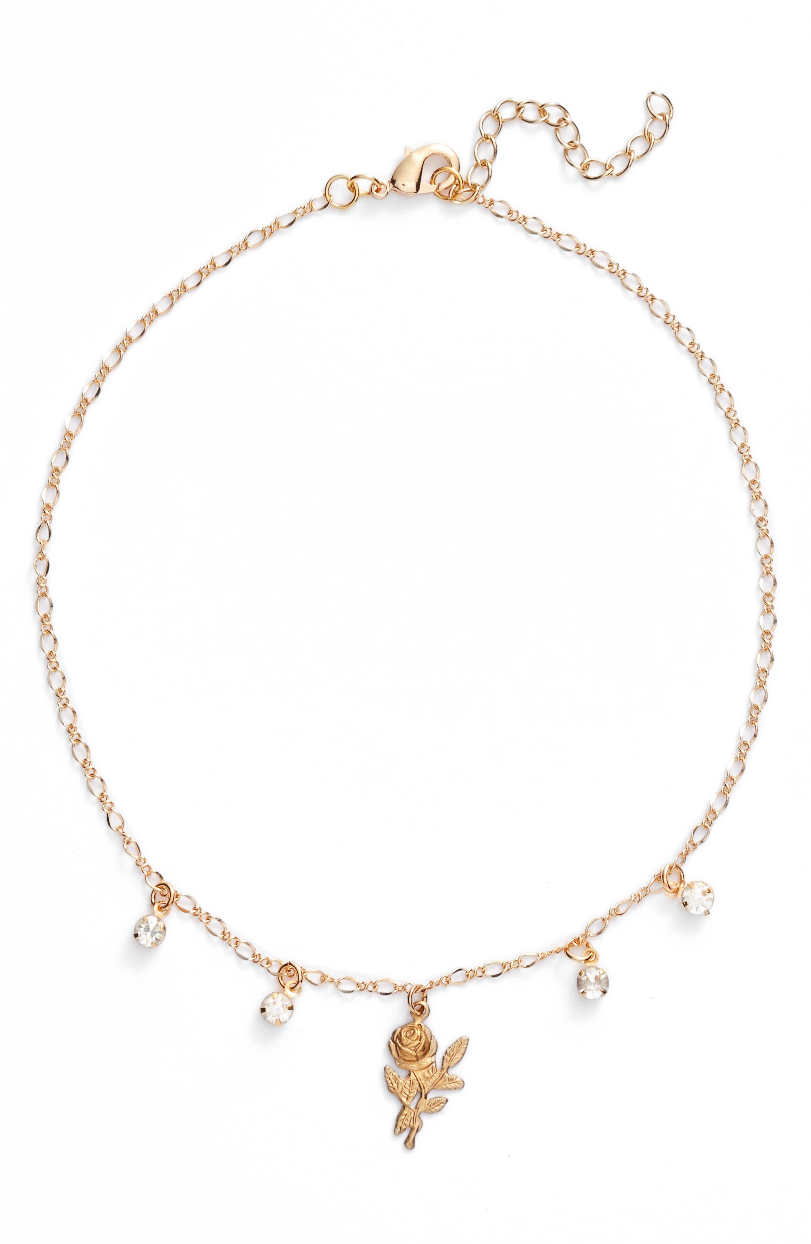 Rosebud Crystal Choker,                         Main,                         color, Gold