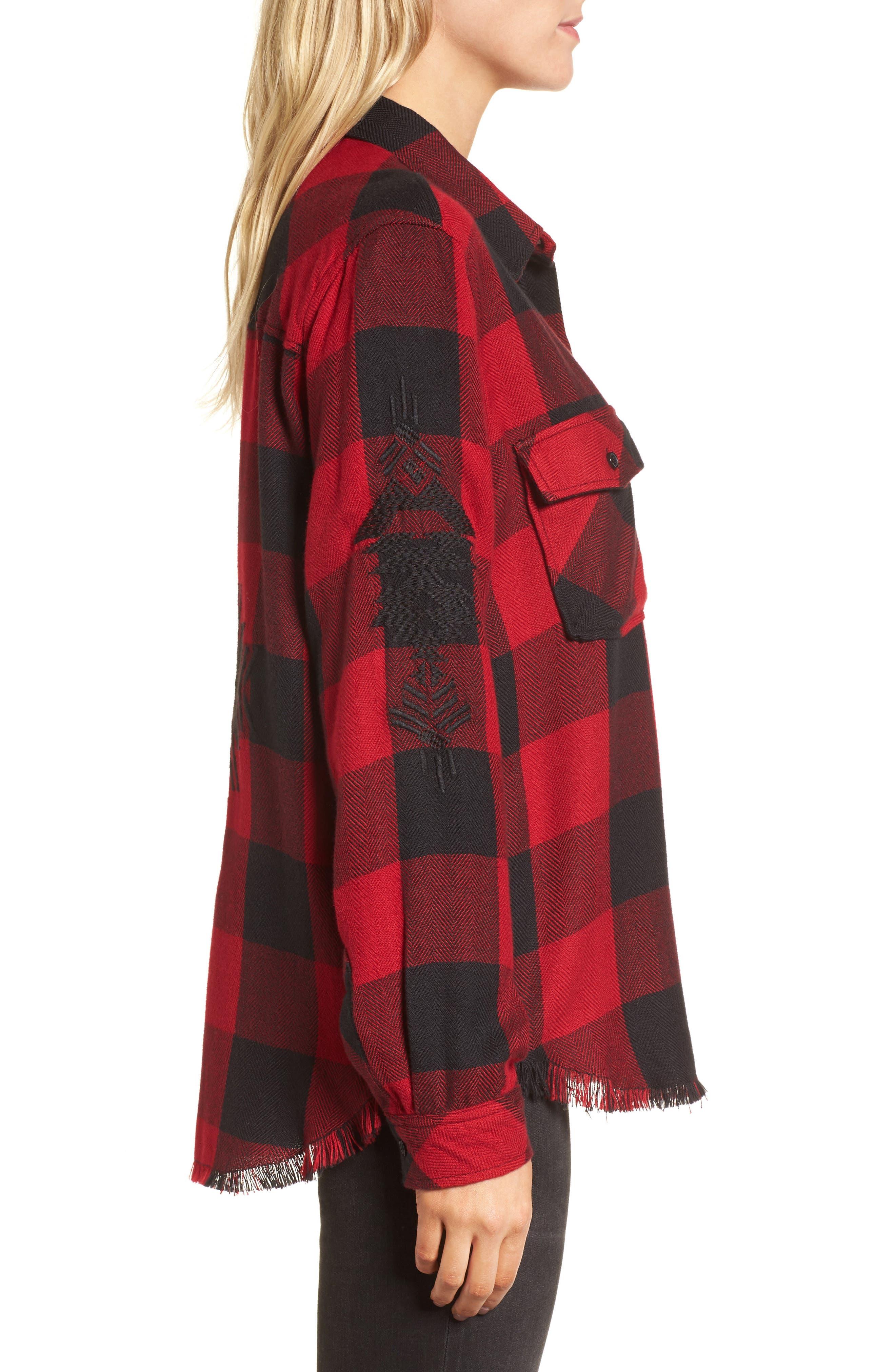Larsson Embroidered Flannel Shirt,                             Alternate thumbnail 4, color,                             Crimson Jet